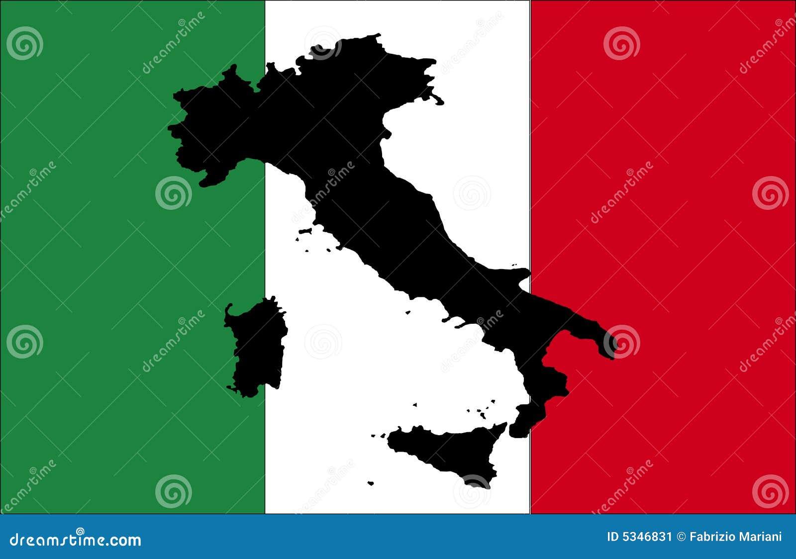 Indicador de Italia con la correspondencia negra
