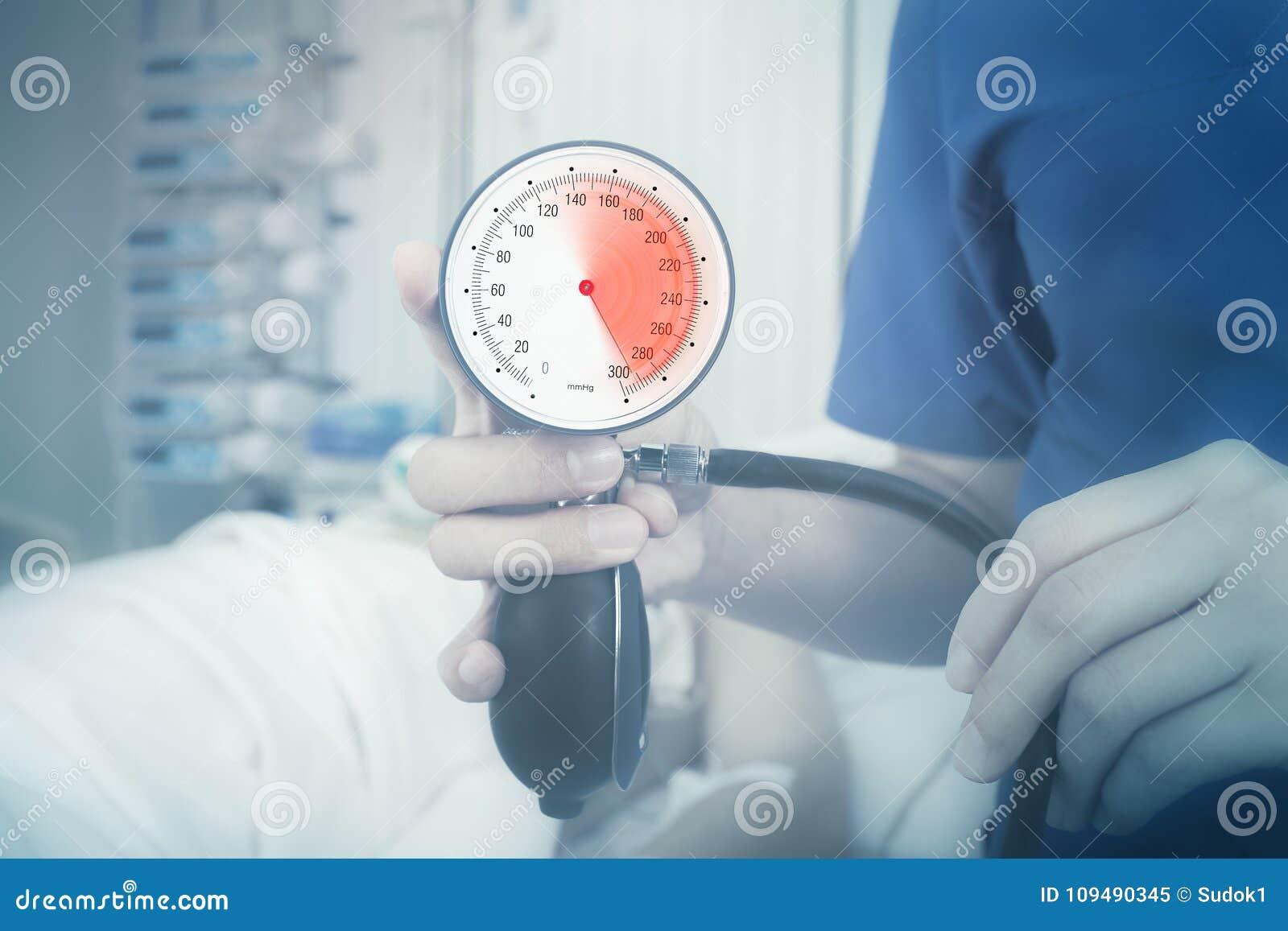 Indicador de la presión arterial con zona roja marcada de la tensión arterial alta