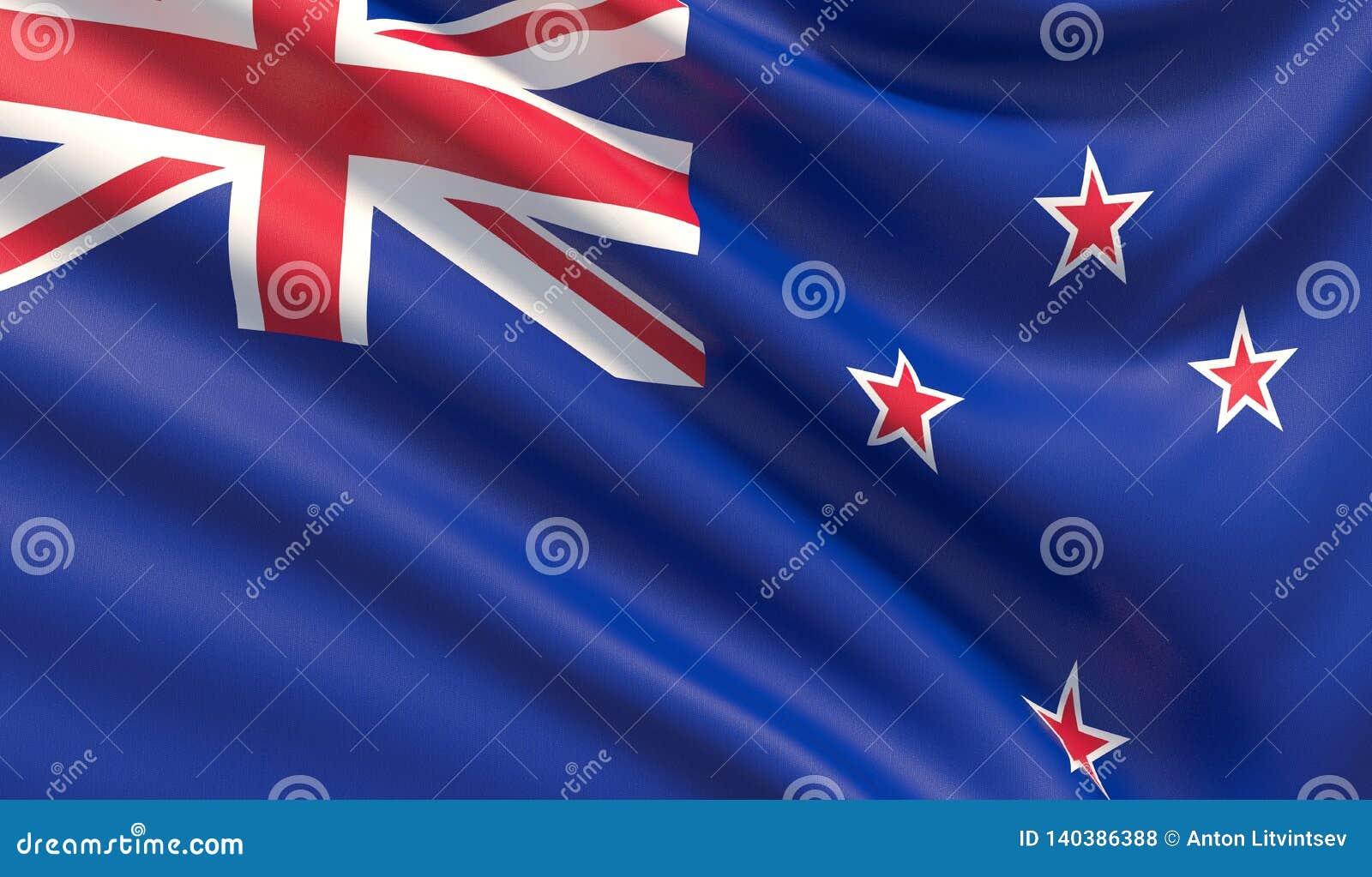 Indicador de Nueva Zelandia Textura altamente detallada agitada de la tela ilustración 3D