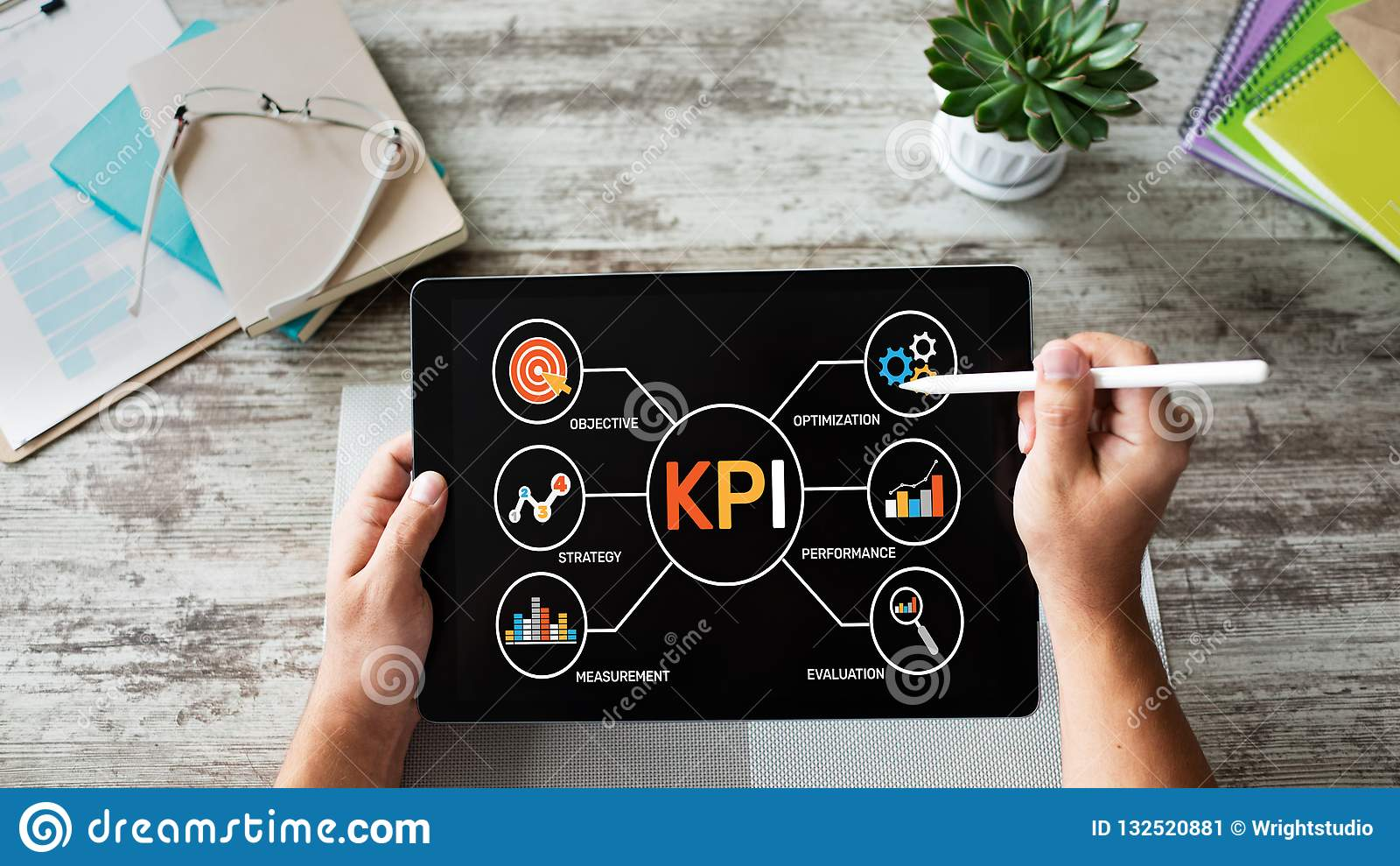 Indicador de rendimiento clave de KPI Concepto industrial de la estrategia de marketing del negocio de fabricación