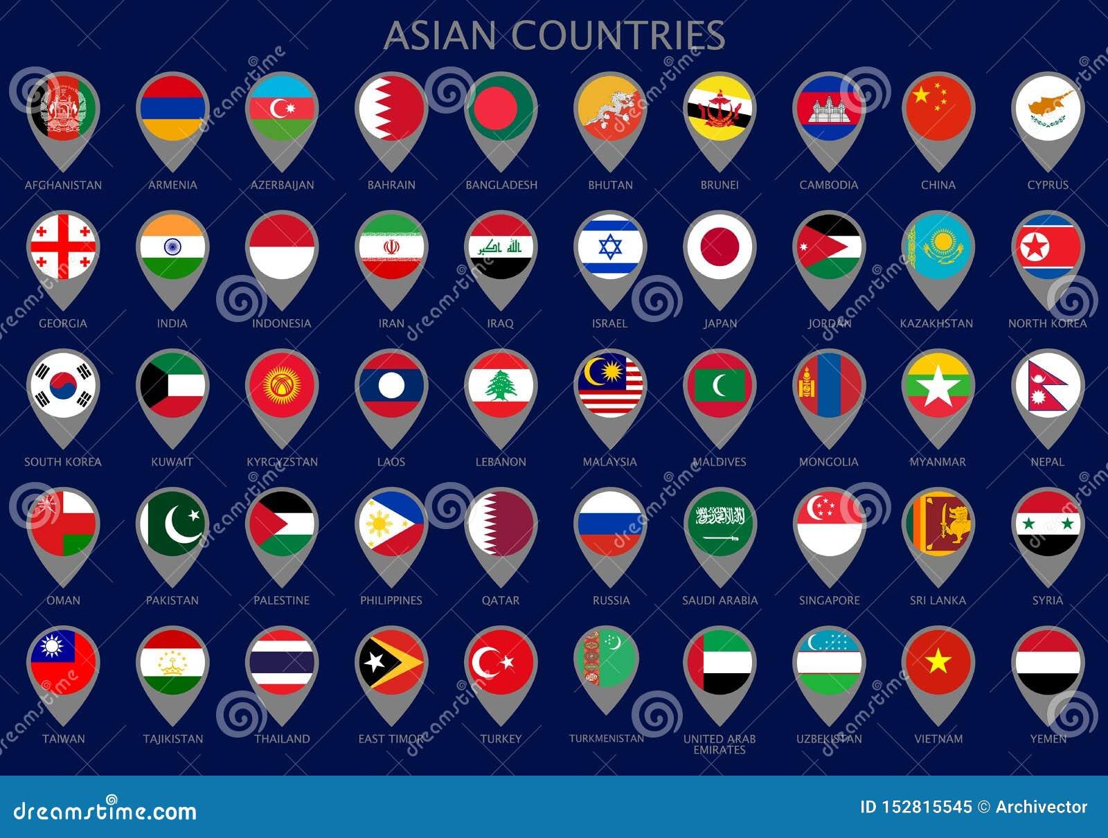 Indicadores del mapa con todas las banderas de los países asiáticos
