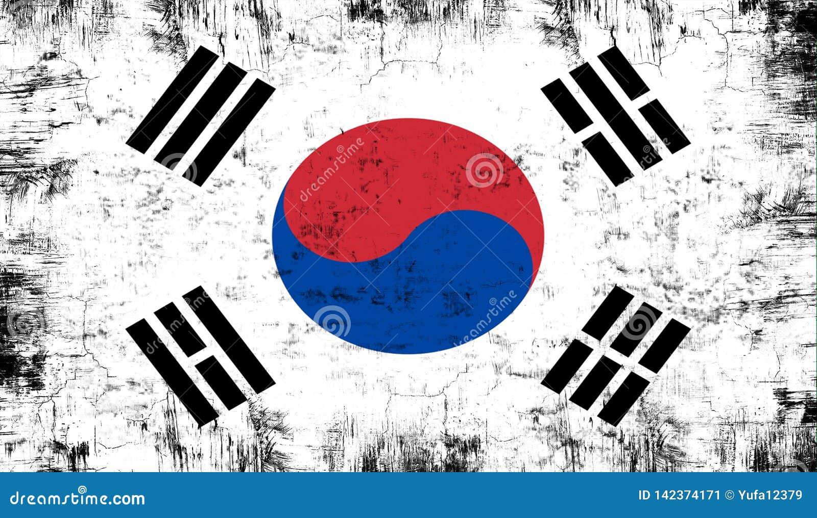 Indicateur Corée du sud Vieux fond grunge patriotique de texture de cru