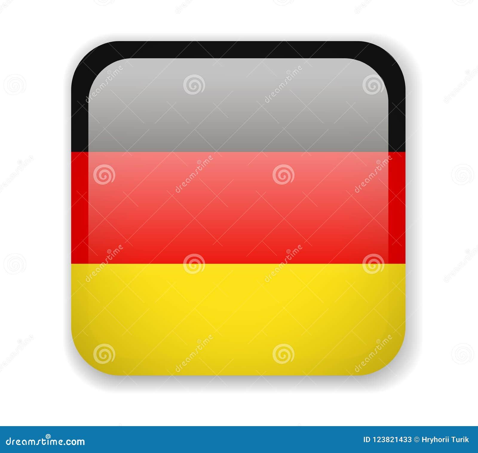 Indicateur de l Allemagne Icône carrée lumineuse sur un fond blanc