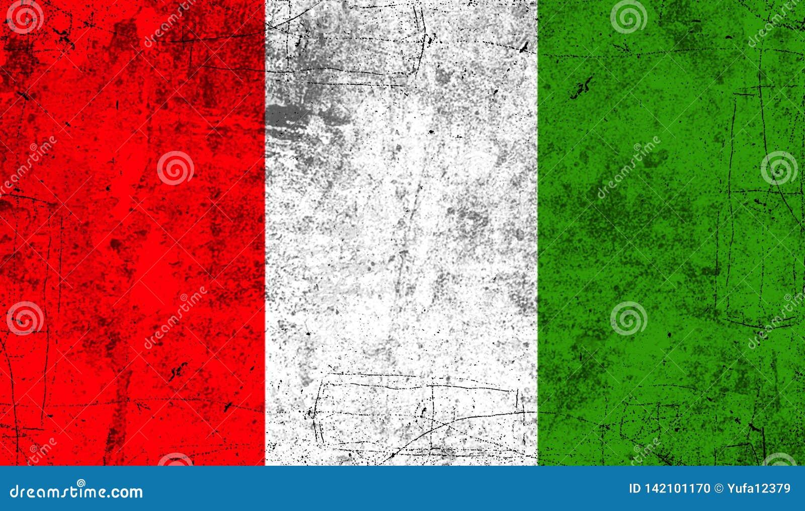 Indicateur Italie Vieux fond grunge patriotique de texture de cru