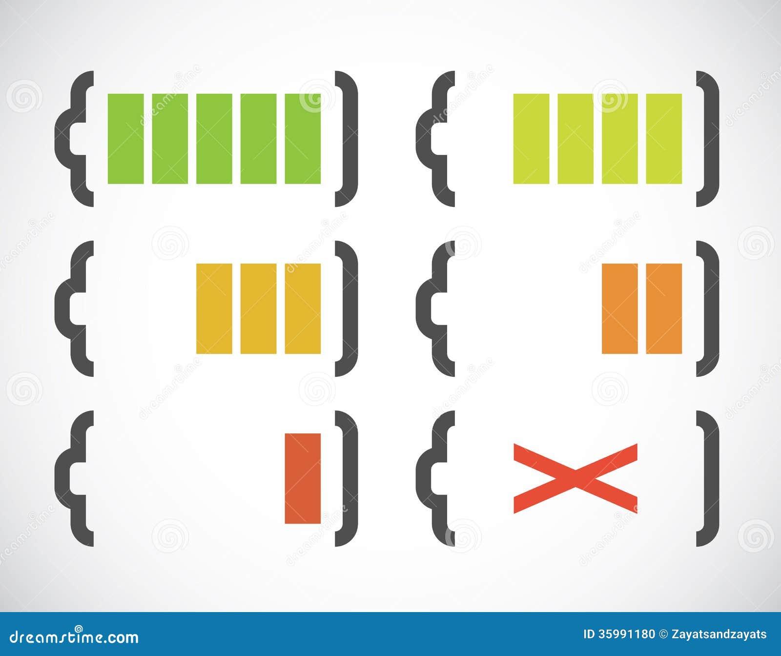 indicateurs de charge de batterie illustration de vecteur. Black Bedroom Furniture Sets. Home Design Ideas