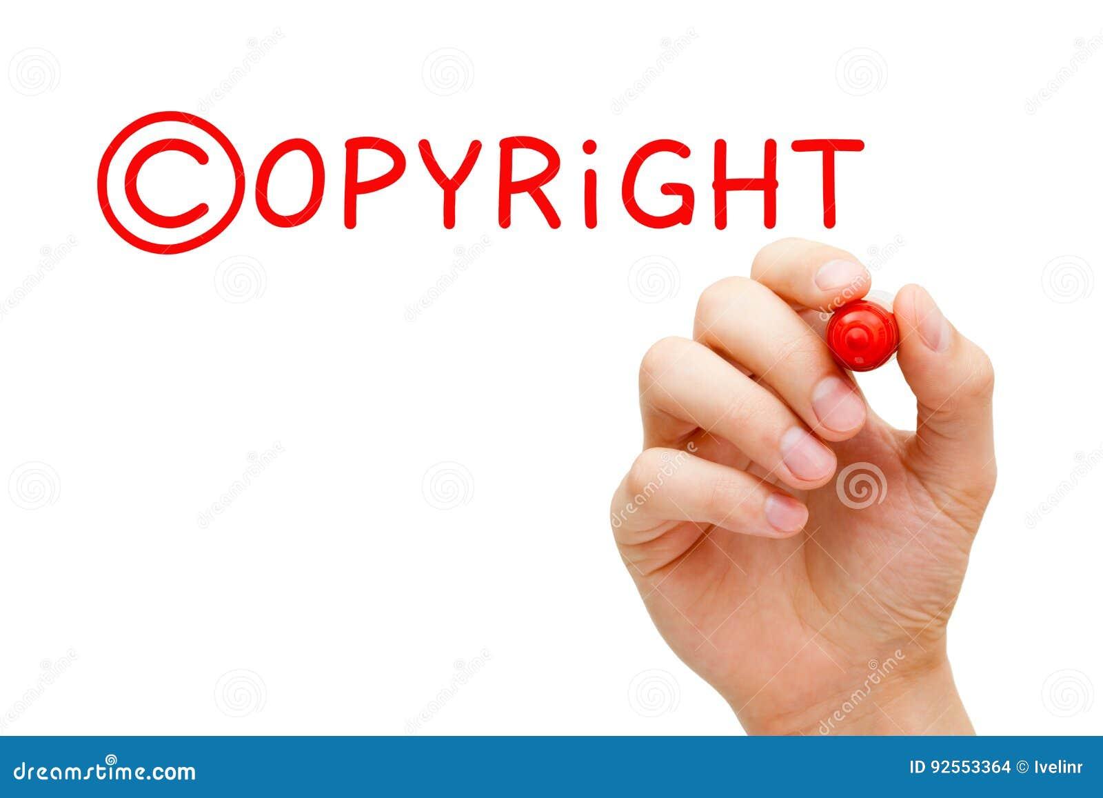 Indicatore di rosso di concetto di Copyright