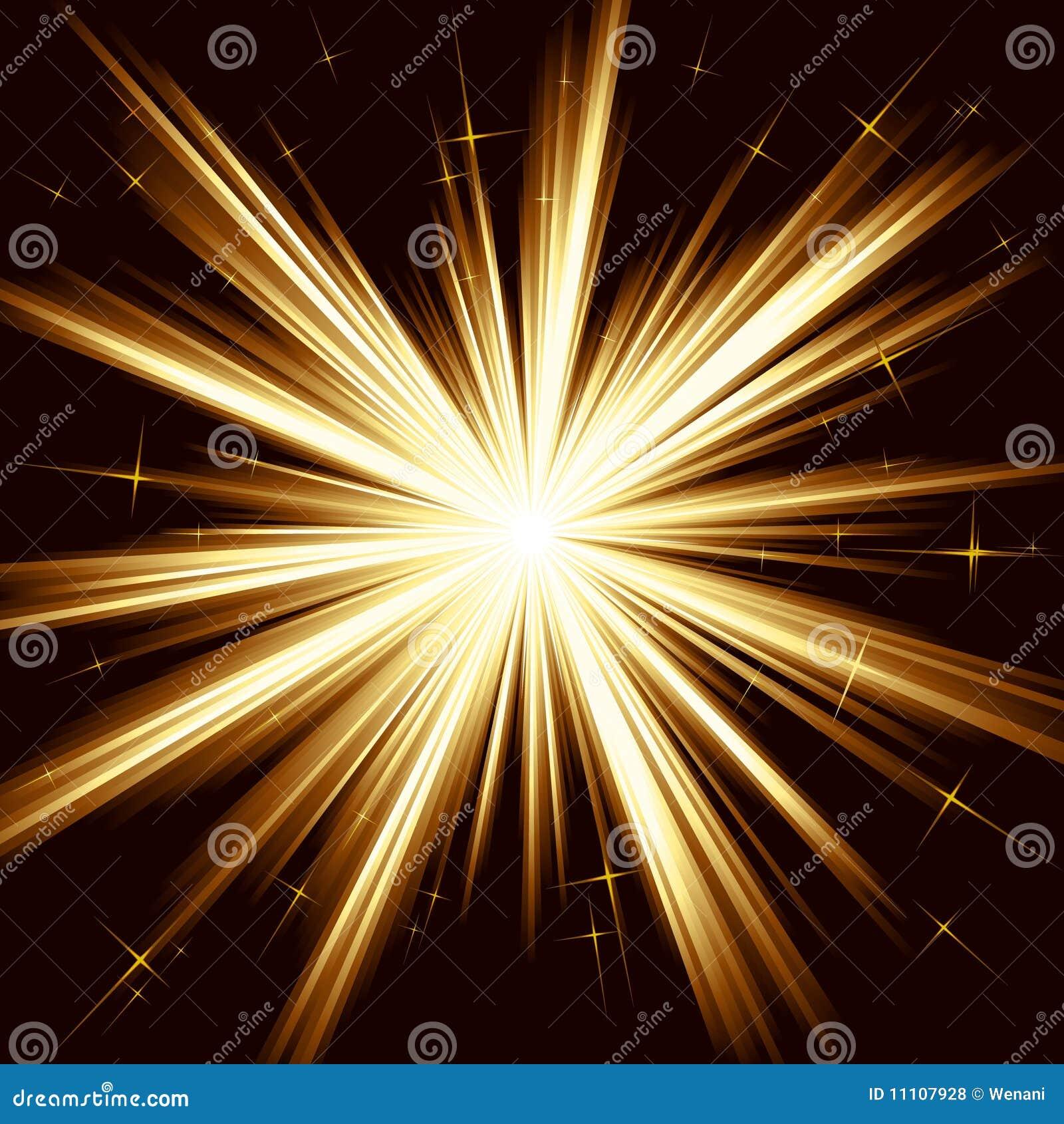 Indicatore luminoso dorato, burst della stella, fuochi d artificio stilizzati
