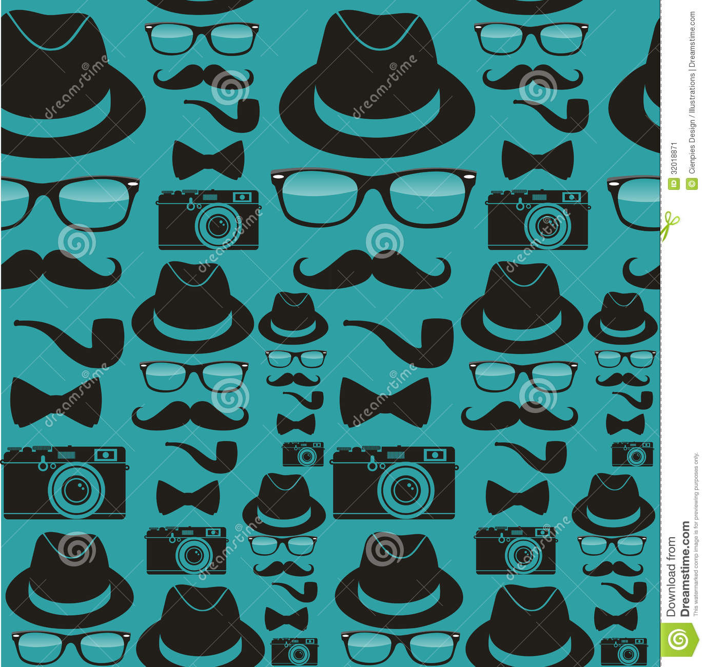 Indie hipsters seamless pattern