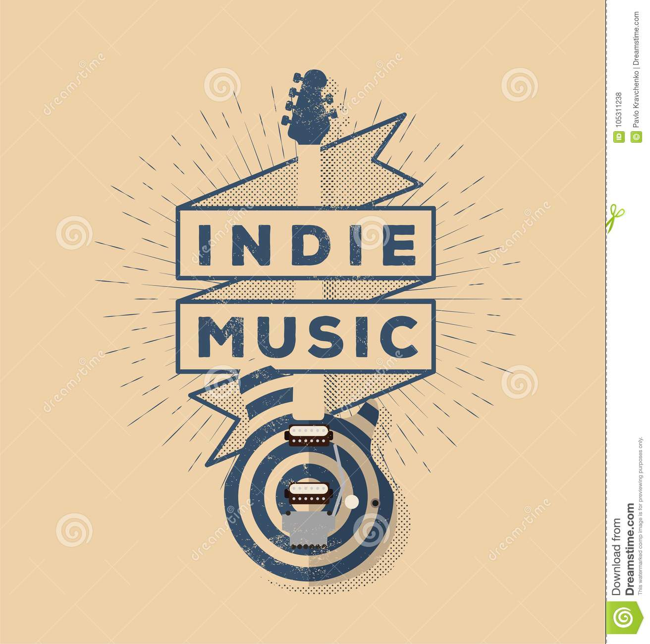 indie rock music vintage styled badge design template for your
