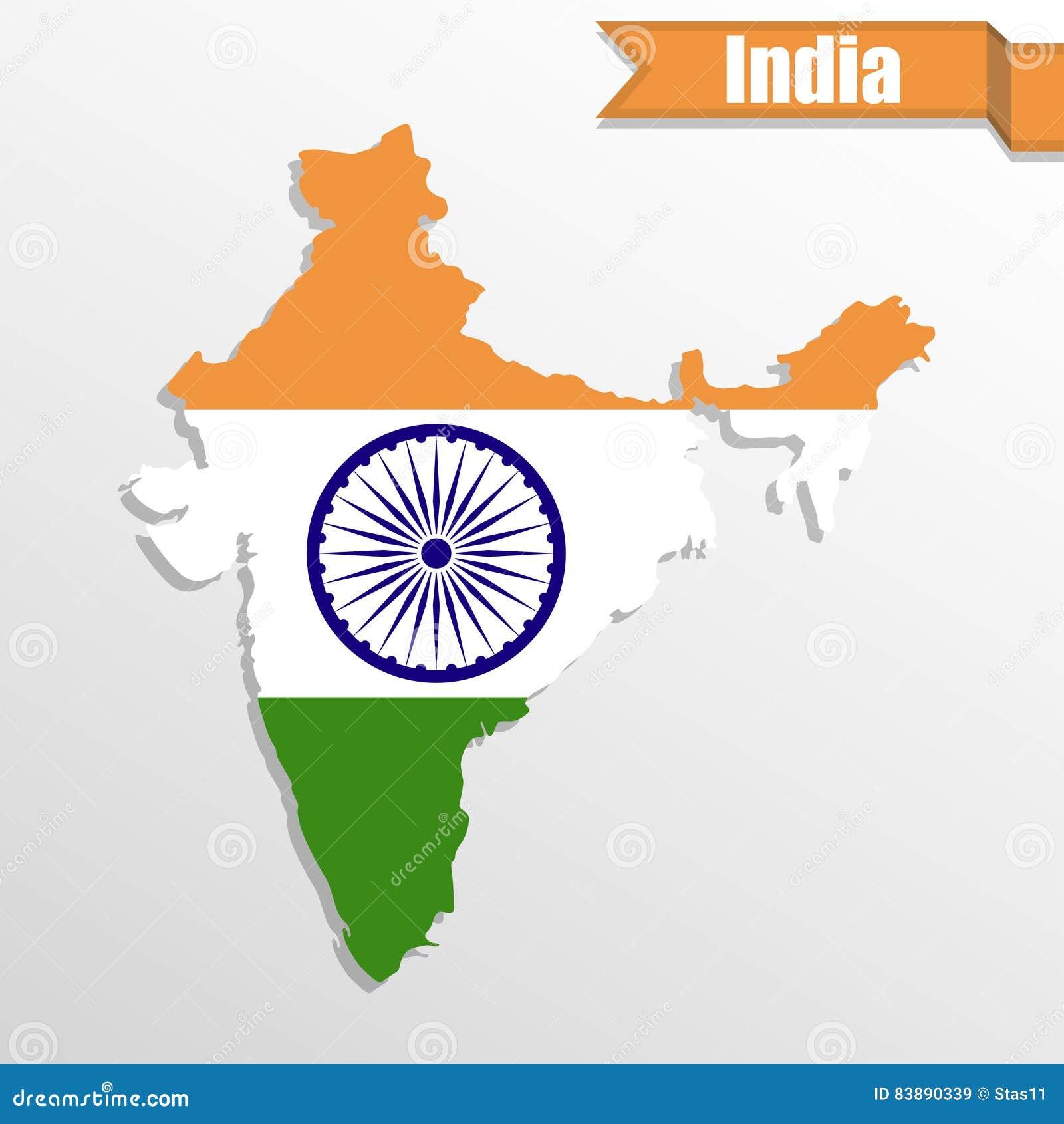 Indien översikt med det flaggainsidan och bandet