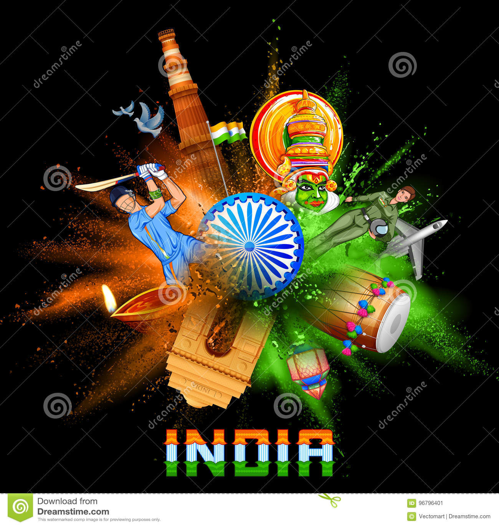Indien bakgrund i tricolor och Ashoka Chakra med pulverfärgexplosion