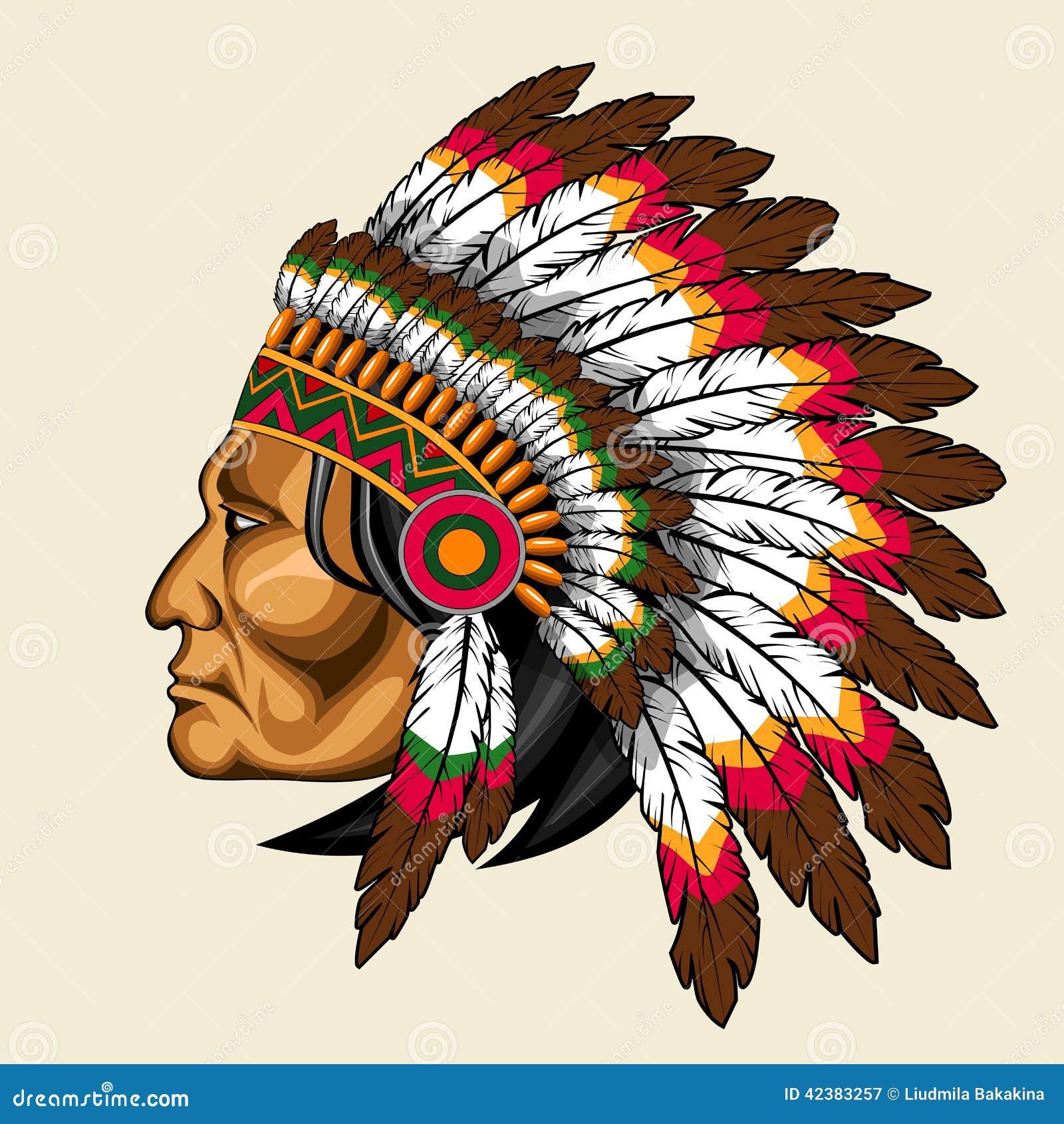 indien d 39 amerique dans le costume traditionnel illustration de vecteur image 42383257. Black Bedroom Furniture Sets. Home Design Ideas