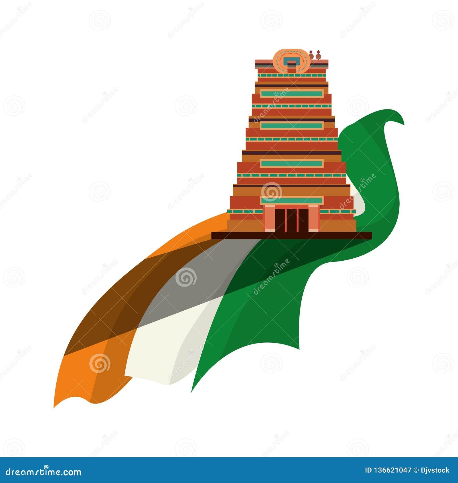 Indien de drapeau de monument de ville de Chennai