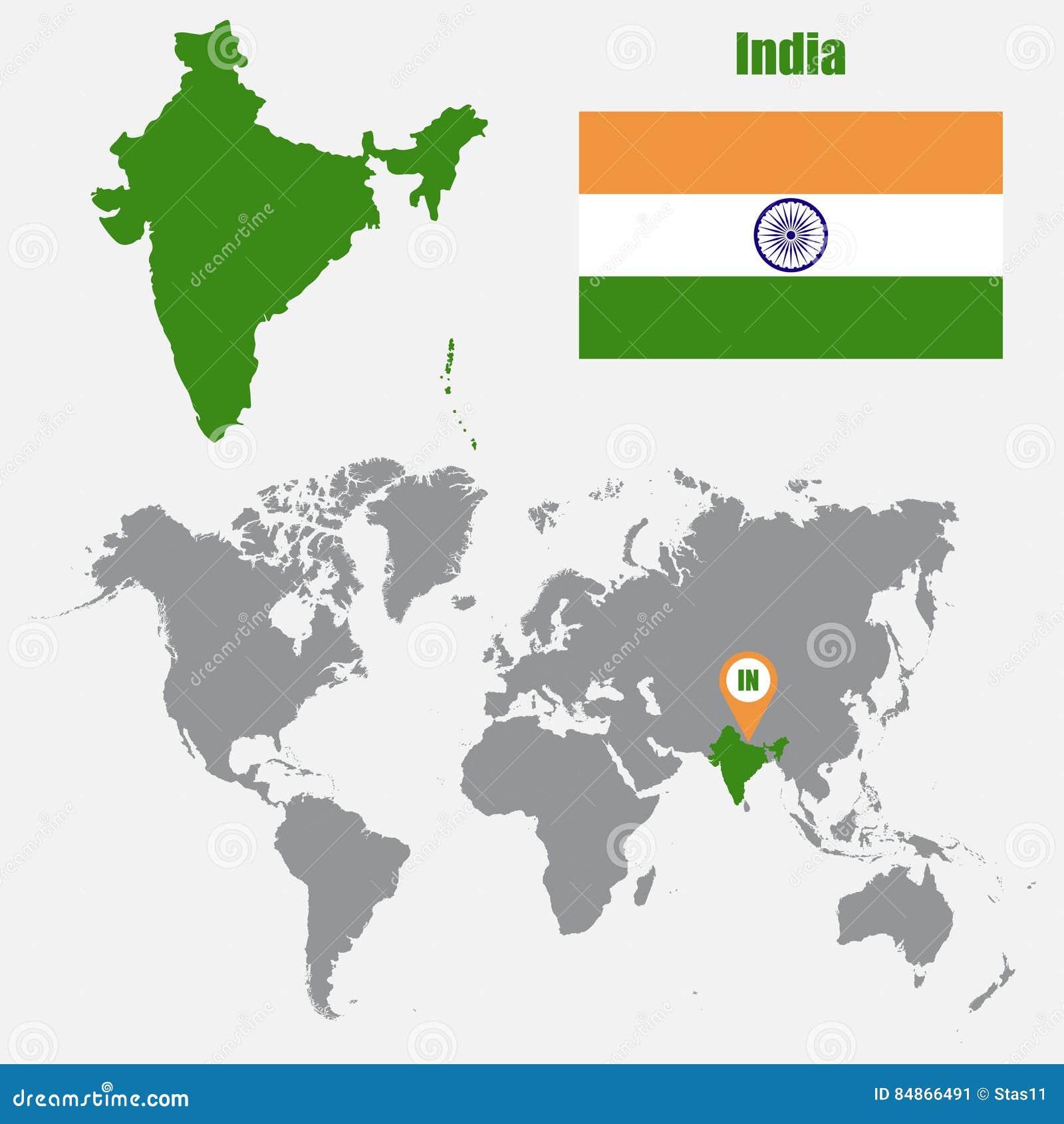 Indien Karte Auf Einer Weltkarte Mit Flaggen Und Kartenzeiger