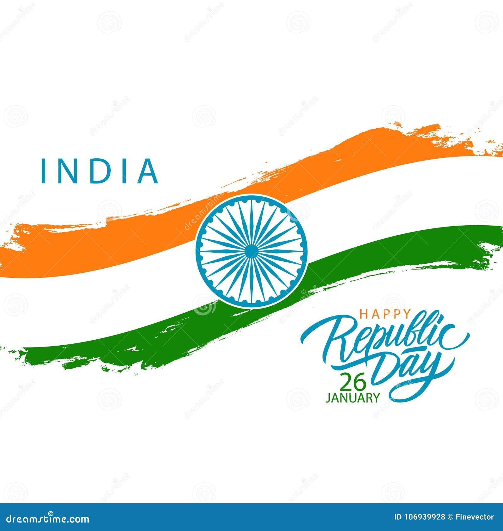 Indien lycklig republikdag, januari 26 hälsningkort med den indiska nationsflaggaborsteslaglängden och hand drog hälsningar