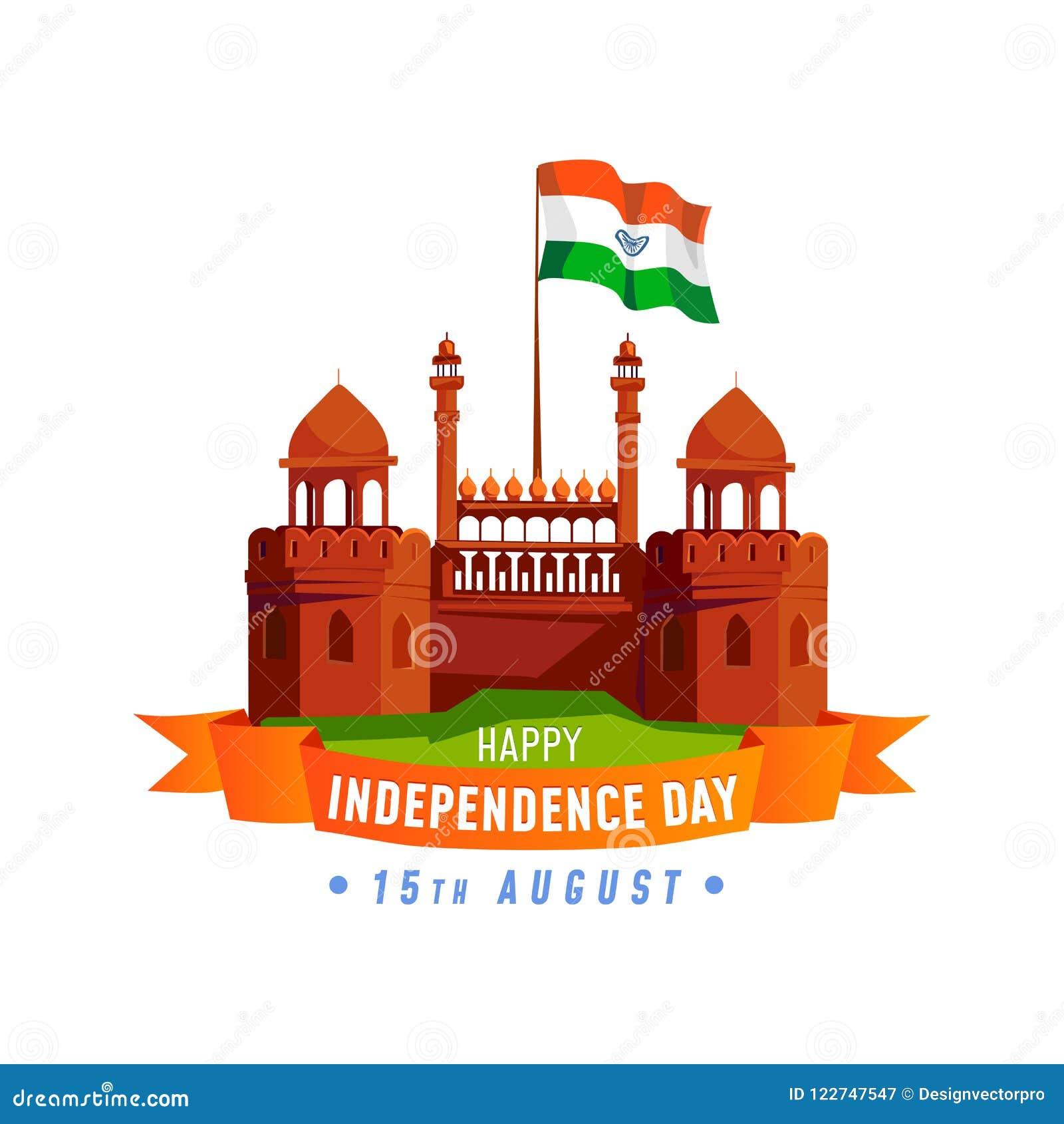 Indien självständighetsdagenkort som isoleras på vit bakgrund Cartoo