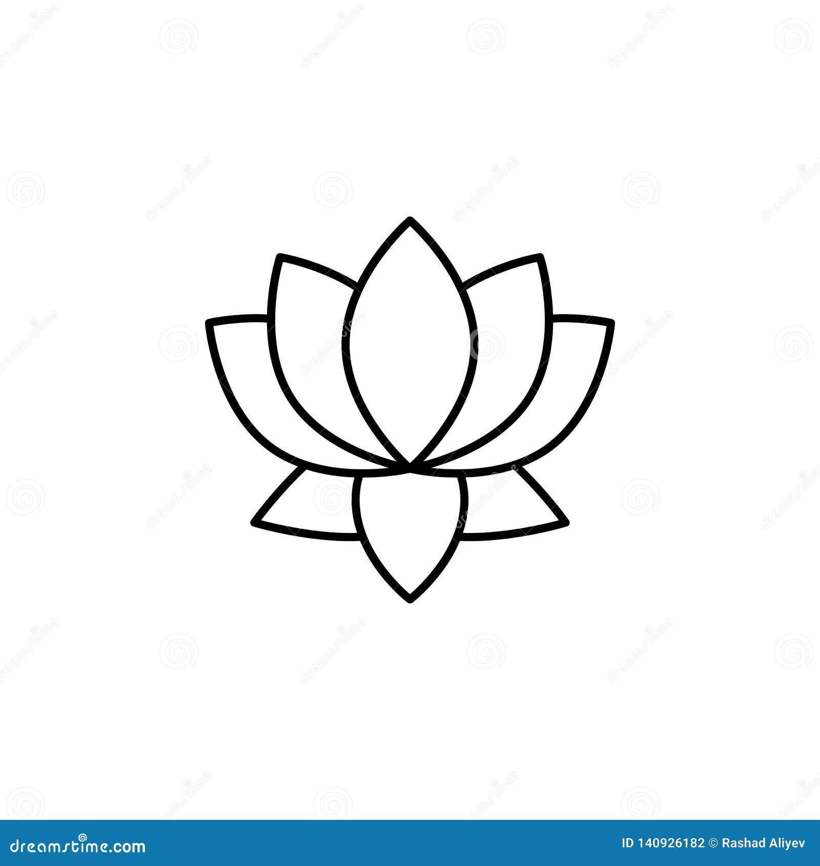 Indien symbol för lotusblommablomma Beståndsdel av den Indien kultursymbolen Tunn linje symbol för websitedesignen och utveckling