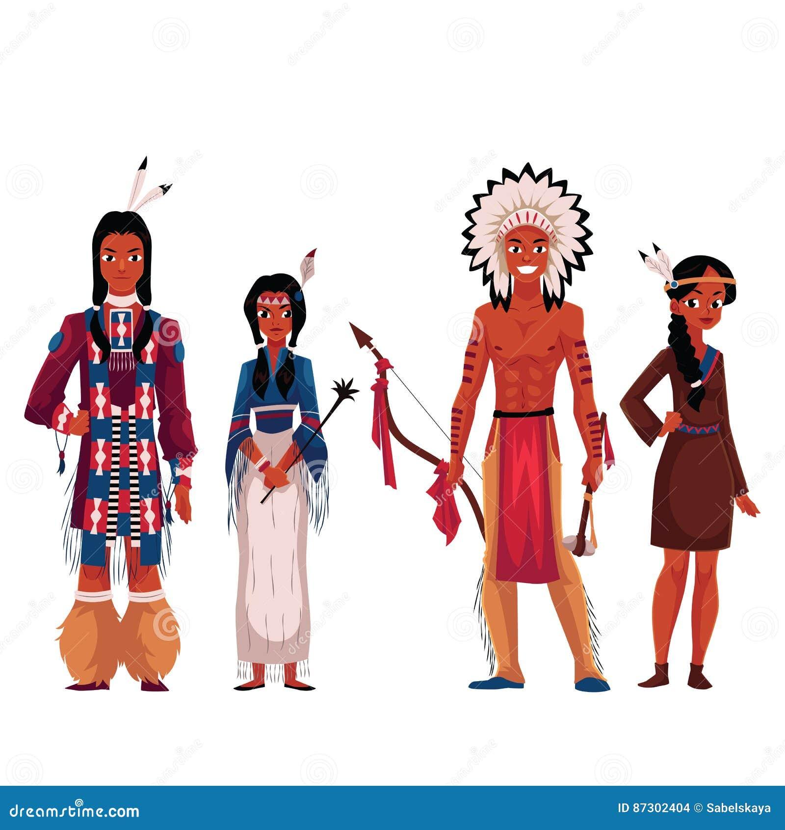 Indiens d Amerique indigènes, hommes et femmes, dans des costumes nationaux traditionnels