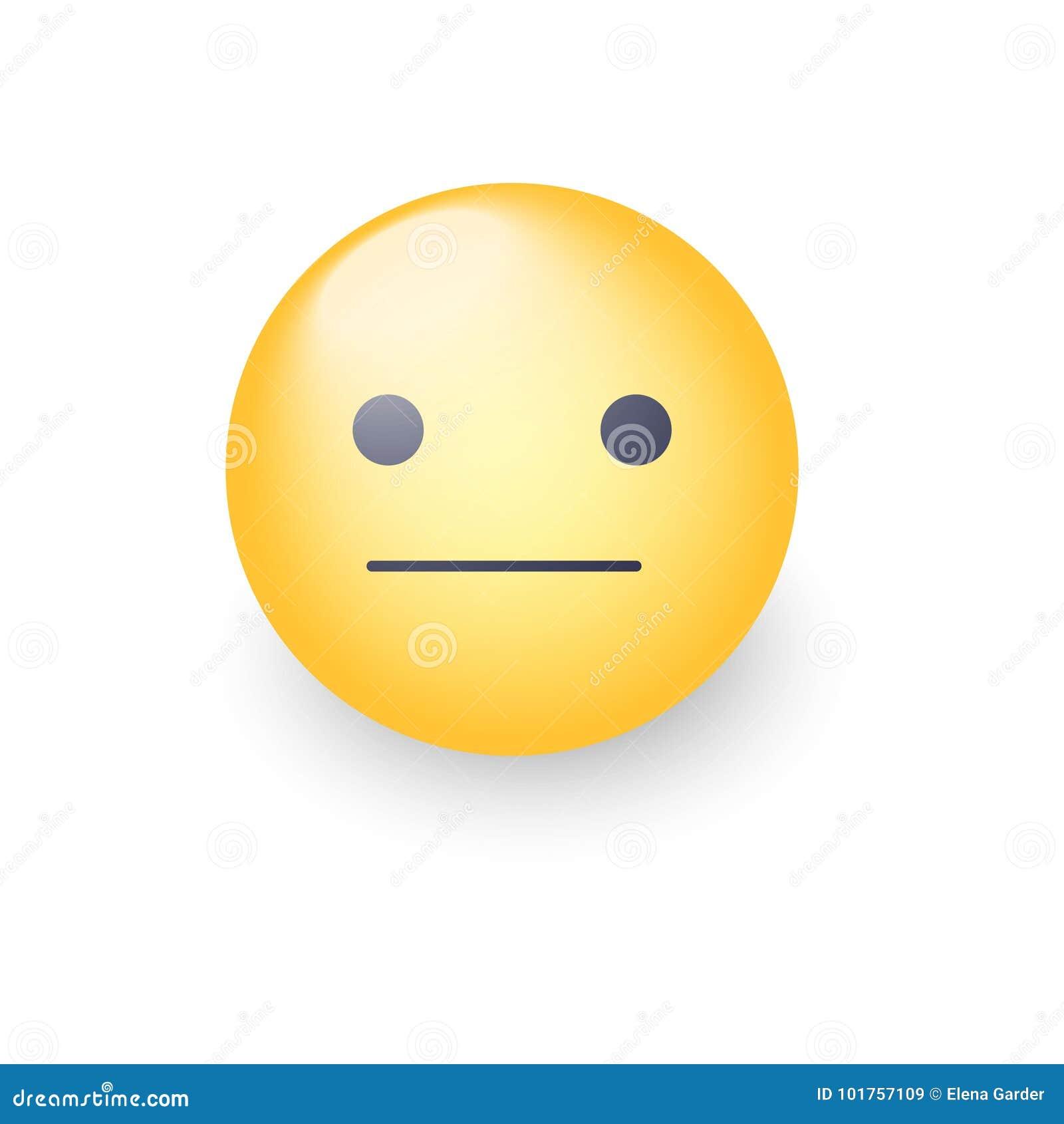 Indifferent Emoji Cartoon Icon. Expressionless Emoticon Face ...