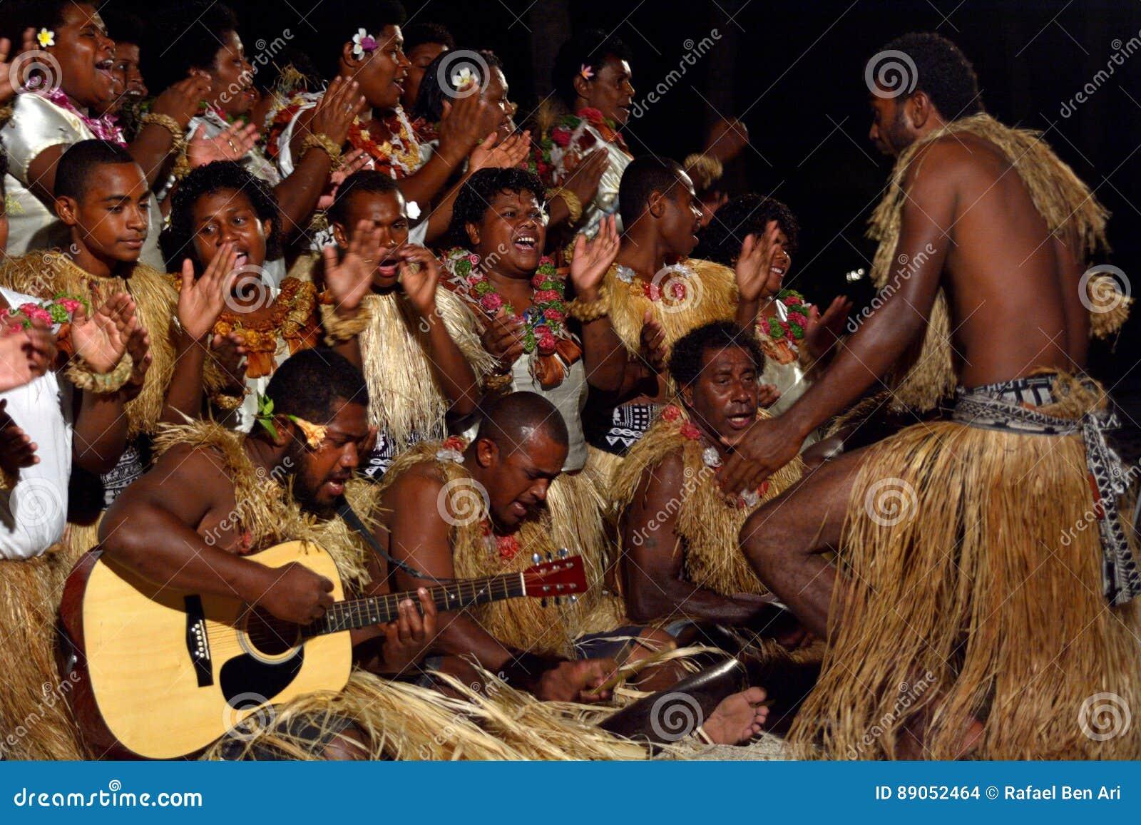 Indigenous Fijian People Sing And Dance In Fiji Stock Photo