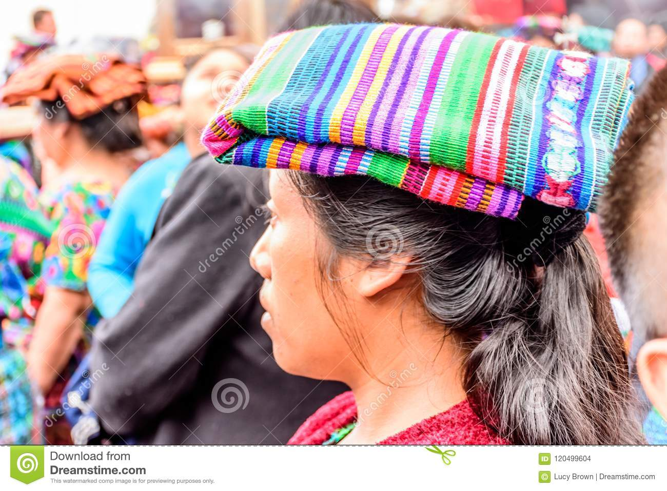 Indigenous Maya Woman In Traditional Head Covering, Guatemala