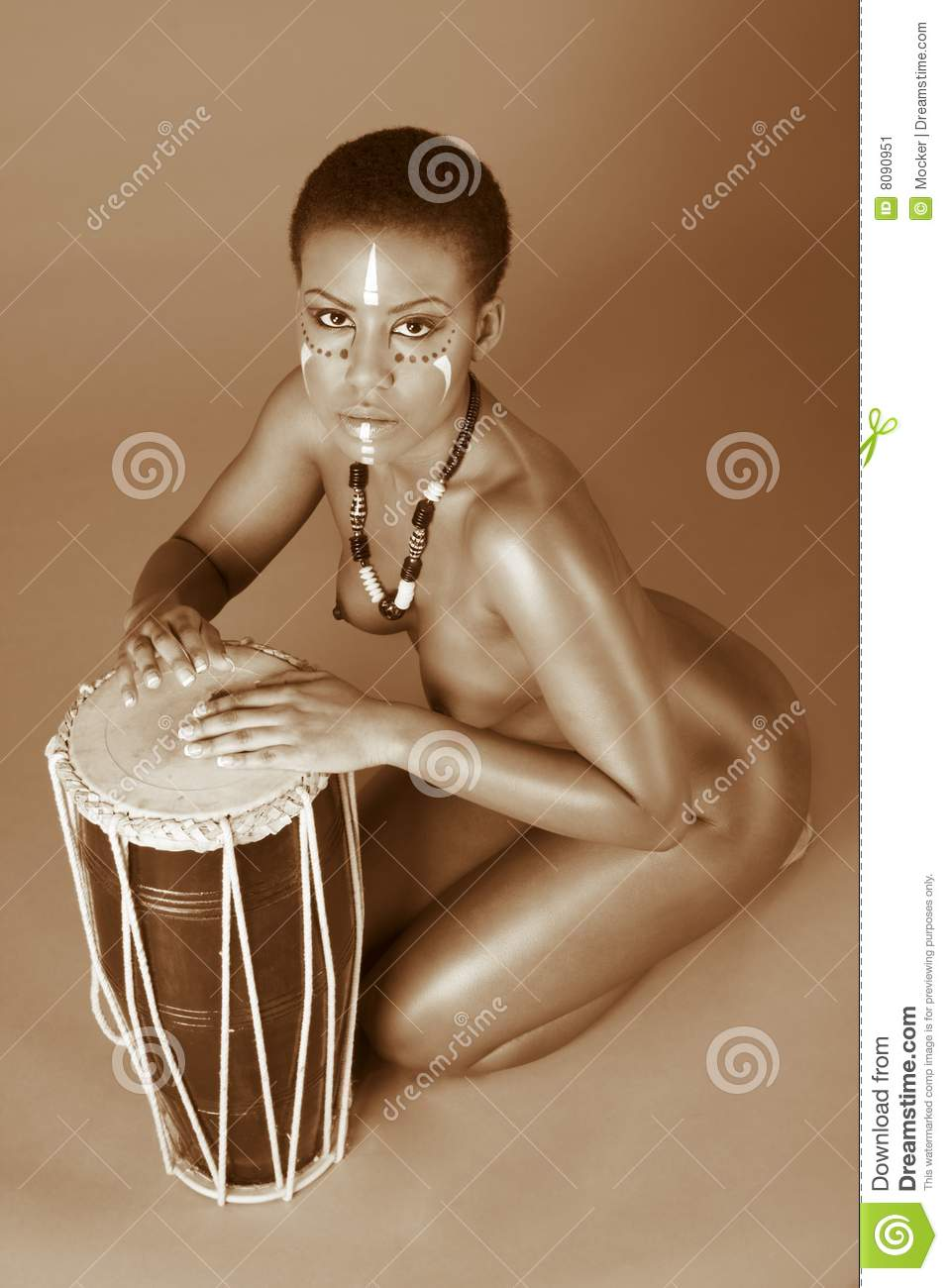 Indigenous Nude African American Woman With Drums Stock -2631