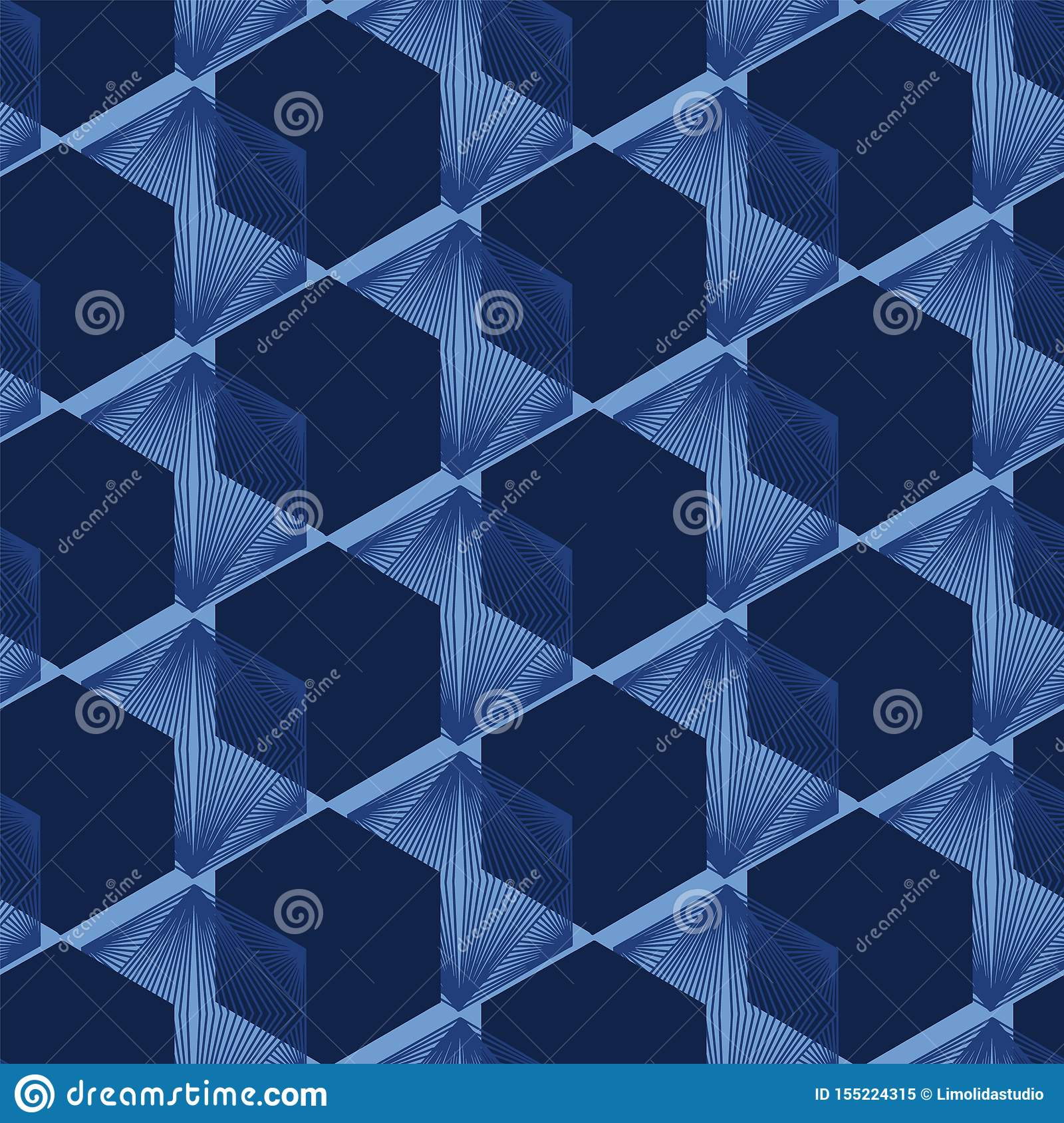 Modern indigo blue geometric hand drawn 3d cube pattern. Repeating abstract background. Ornamental monochrome geo