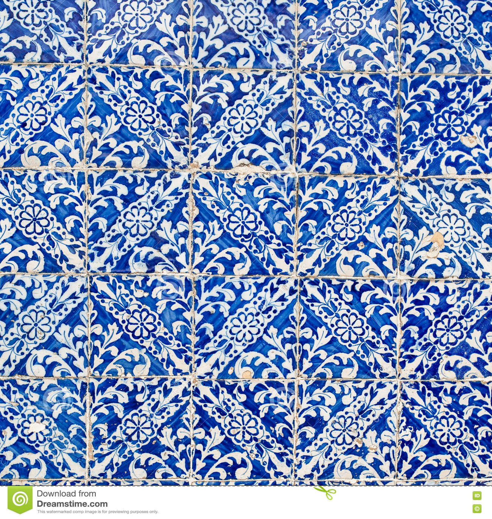 Indigo Blue Tiles Floor Ornament Collection. Colorful Moroccan ...