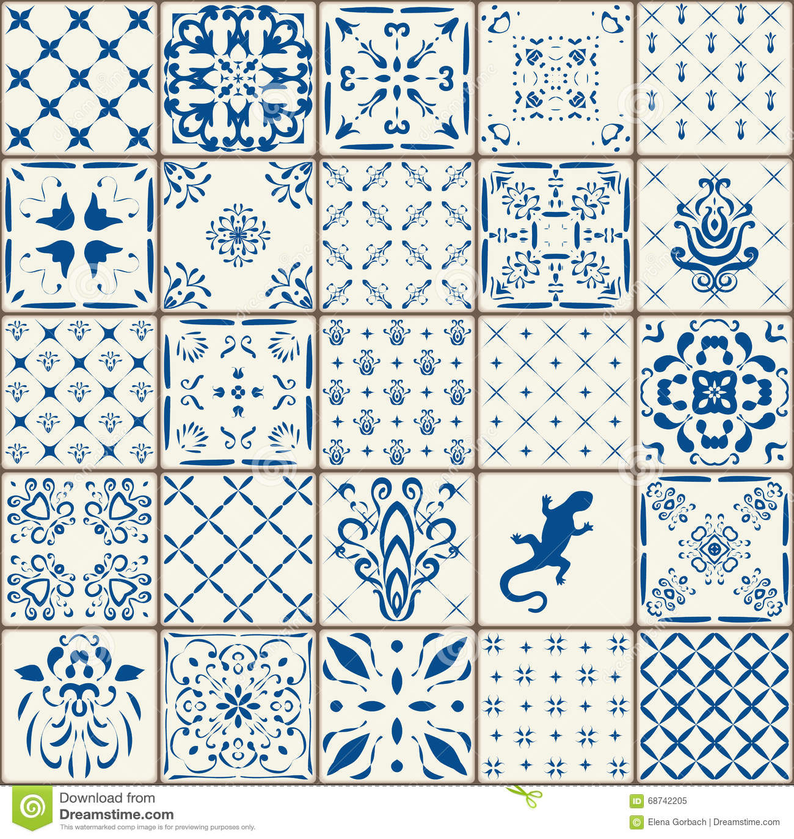 indigo blue tiles floor ornament collection gorgeous seamless patchwork pattern vintage. Black Bedroom Furniture Sets. Home Design Ideas