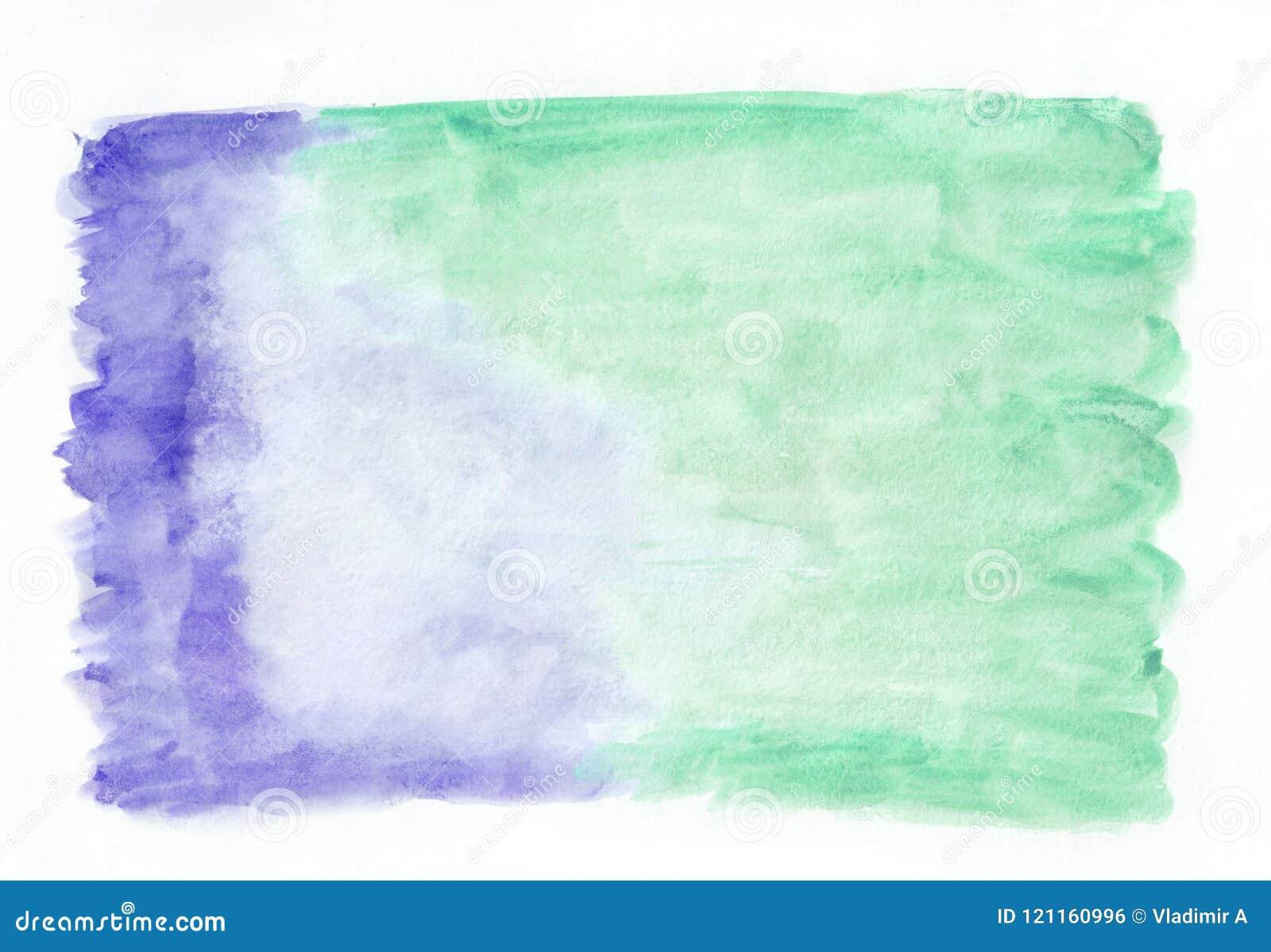 Indigo Iris And Mint Jade Mixed Watercolor Horizontal Gradient