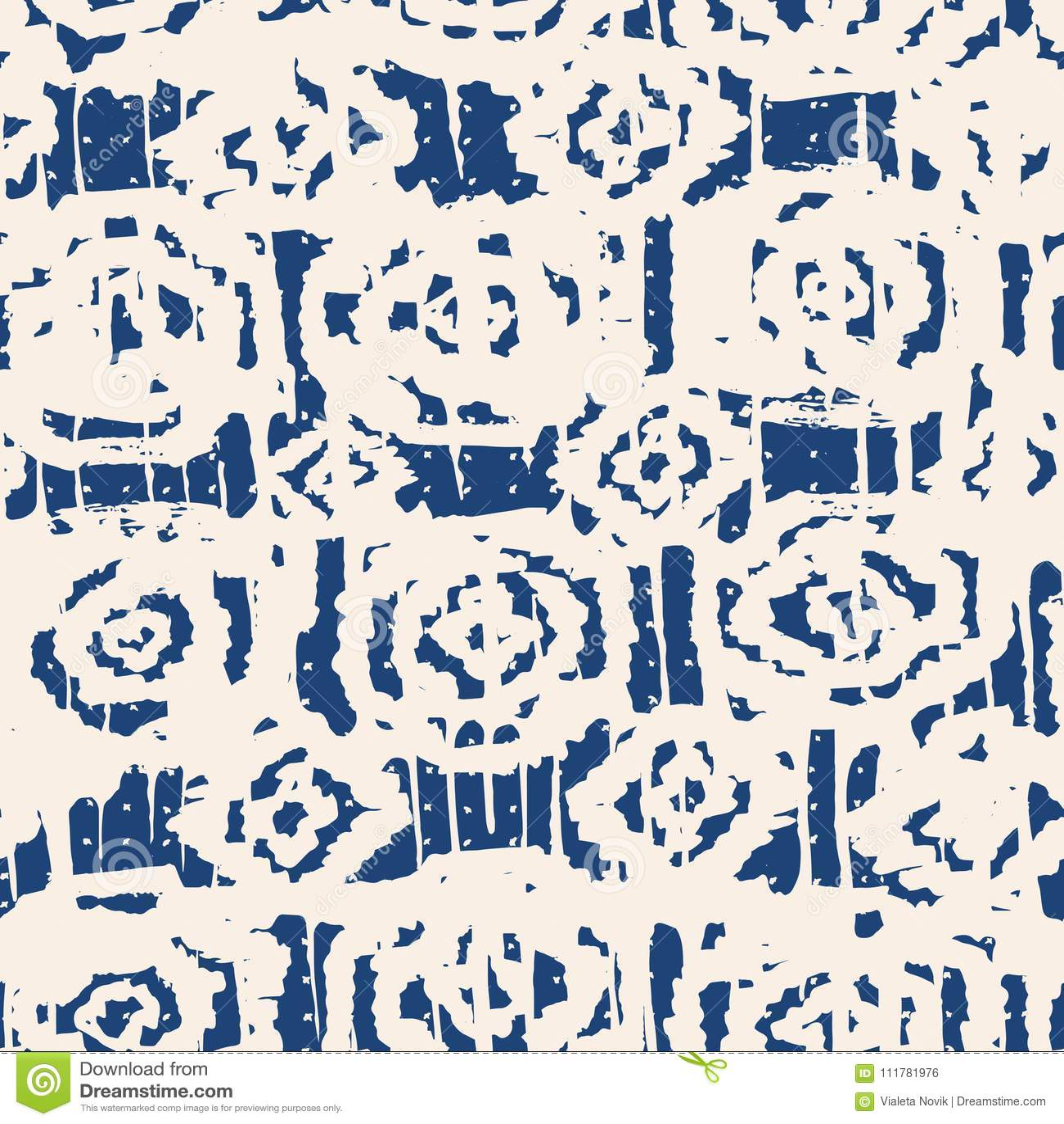 Indigo vector tie dye seamless pattern.