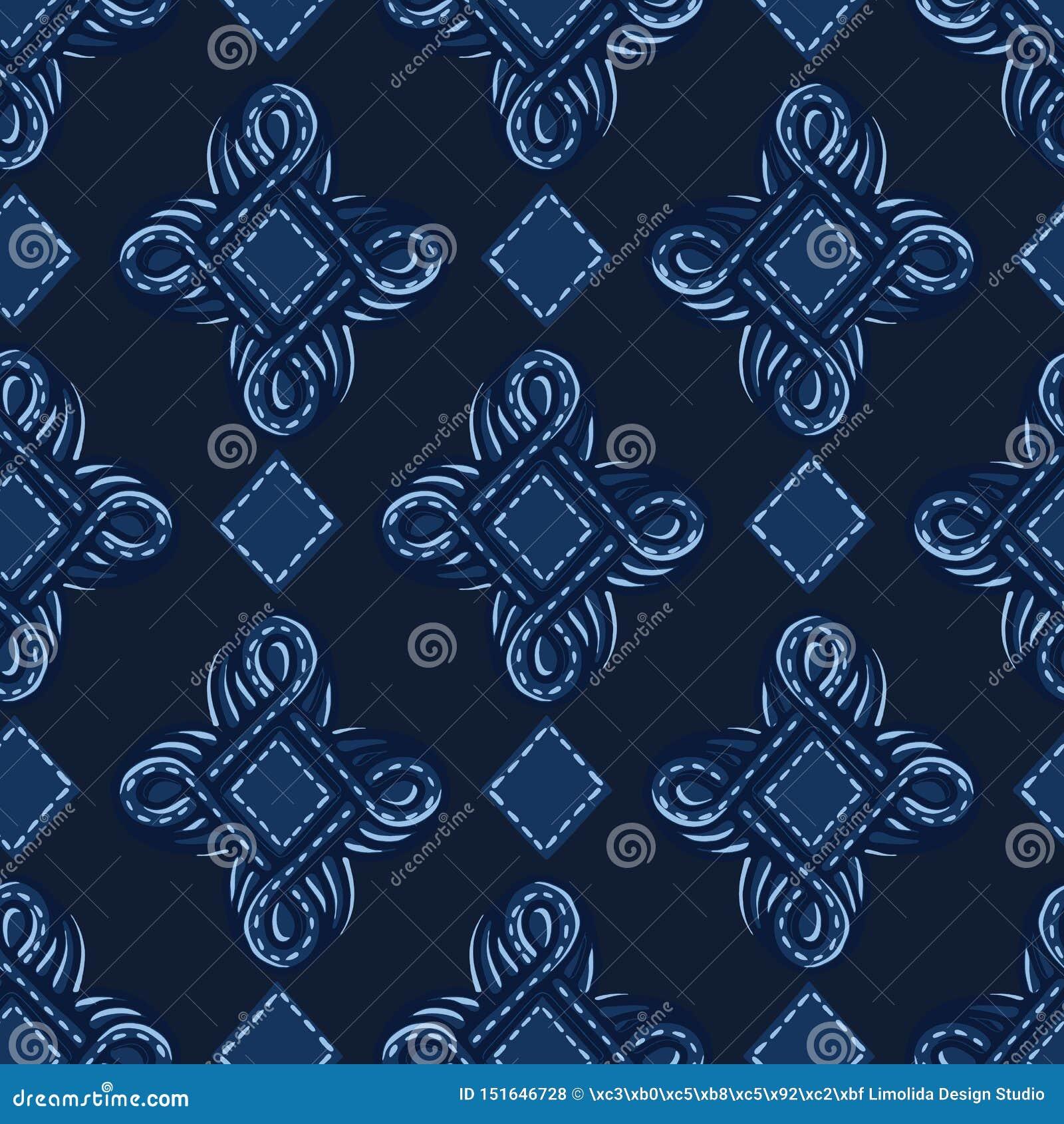 Indigoblå blåa prydnadogeeformer S?ml?s bakgrund f?r vektormodell För utdragen grafisk illustration foulardjuvel för hand retro m