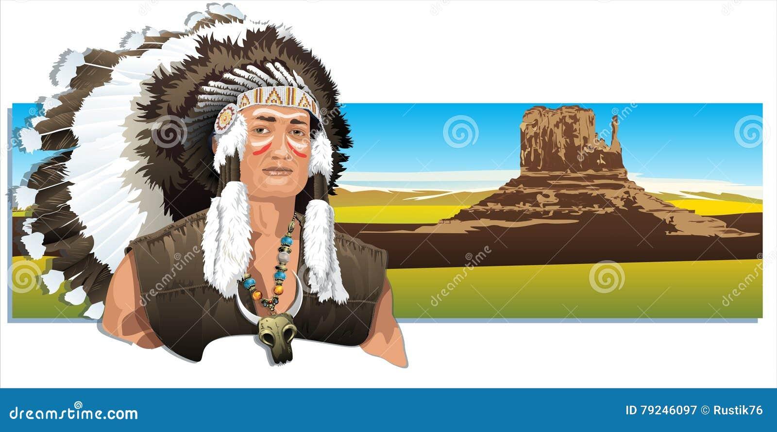 Indio norteamericano, llevando un tocado tradicional