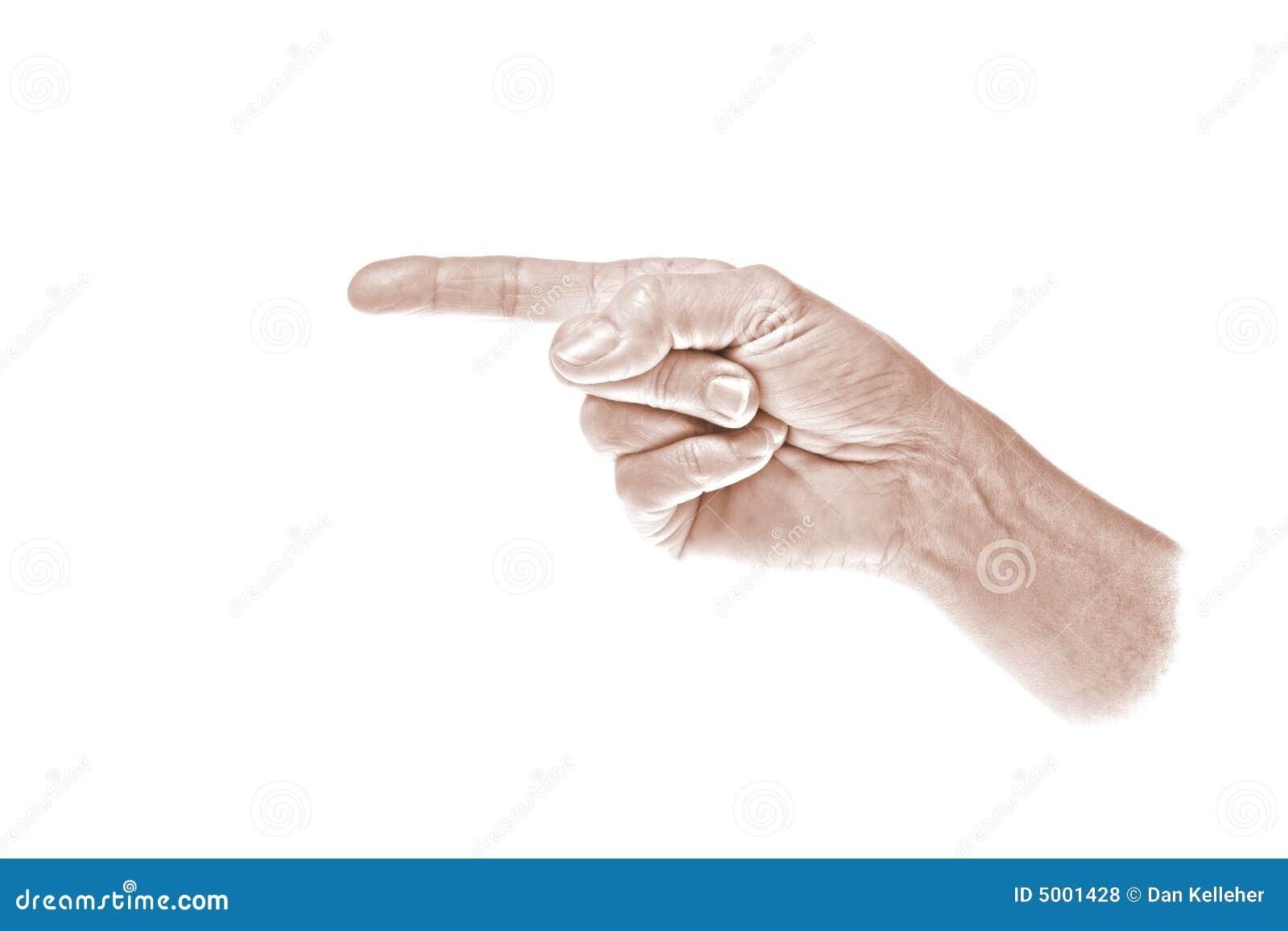 Indiquant la gauche, main, sépia