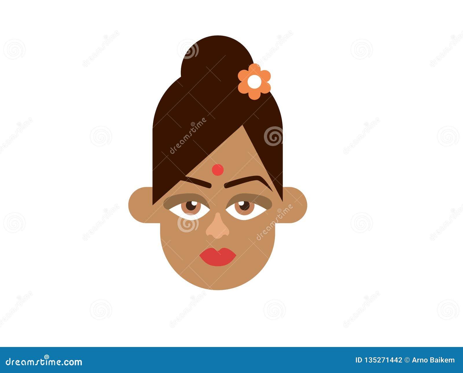 Indische damevector op witte achtergrond