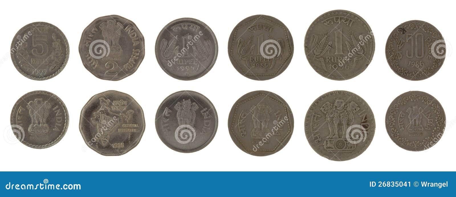 Indische Münzen Getrennt Auf Weiß Stockbild Bild Von Prägung