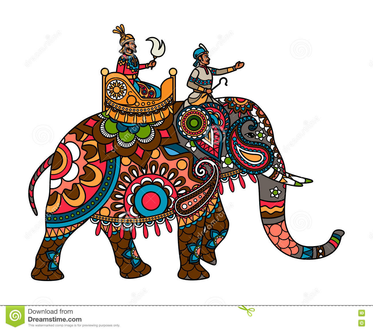 Indische maharadja op de gekleurde olifant vector for Clipart gratis download