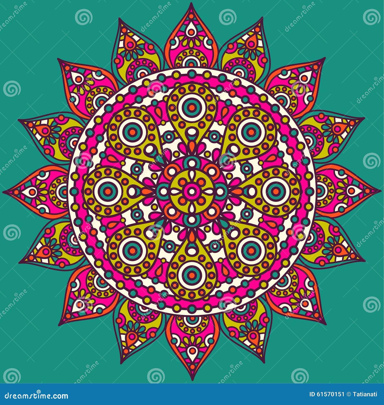 Indische Mandala Vektor Abbildung Illustration Von Bunt 61570151