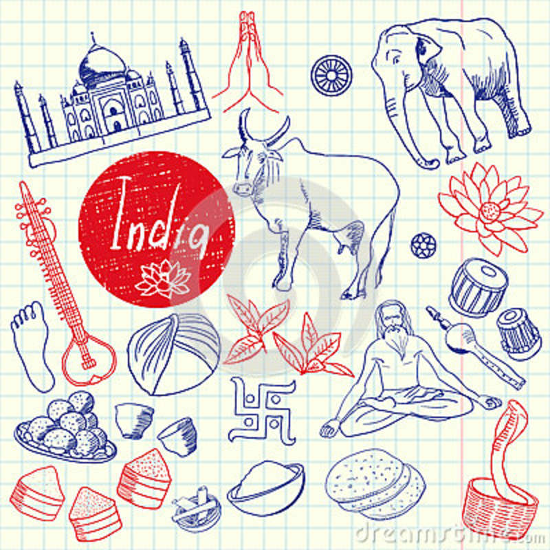 Indische Symbole Pen Drawn Doodles Vector Collection Vektor