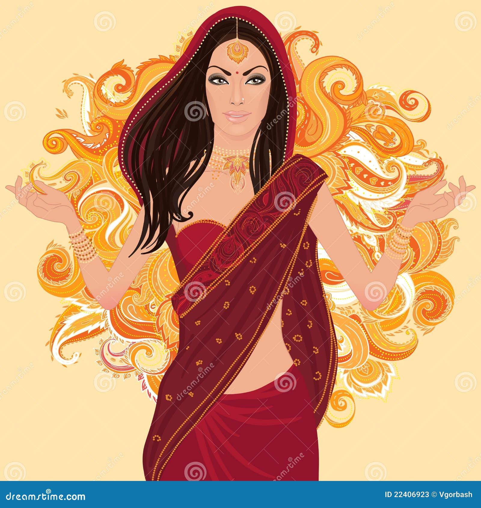 indische traditionelle frau in der sari vektor abbildung. Black Bedroom Furniture Sets. Home Design Ideas