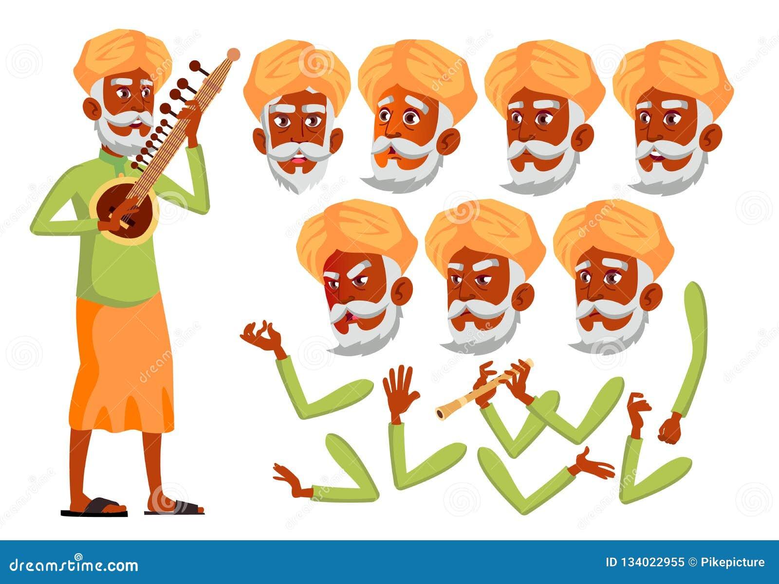 Indischer alter Mann-Vektor hinduistisch Asiatisch Ältere Person Gealtert, ältere Menschen Freunde, Leben Gesichts-Gefühle, versc