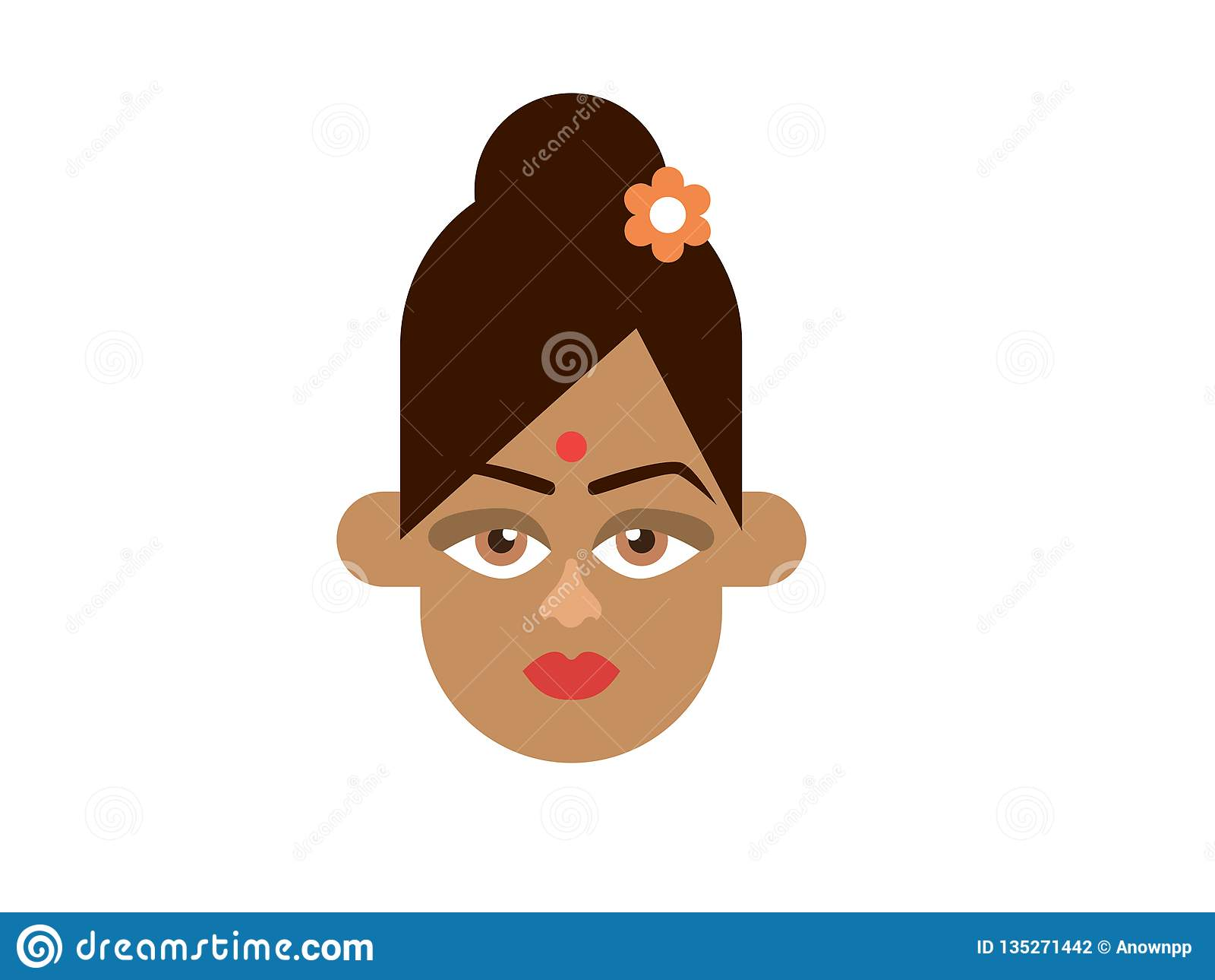 Indischer Damenvektor auf weißem Hintergrund