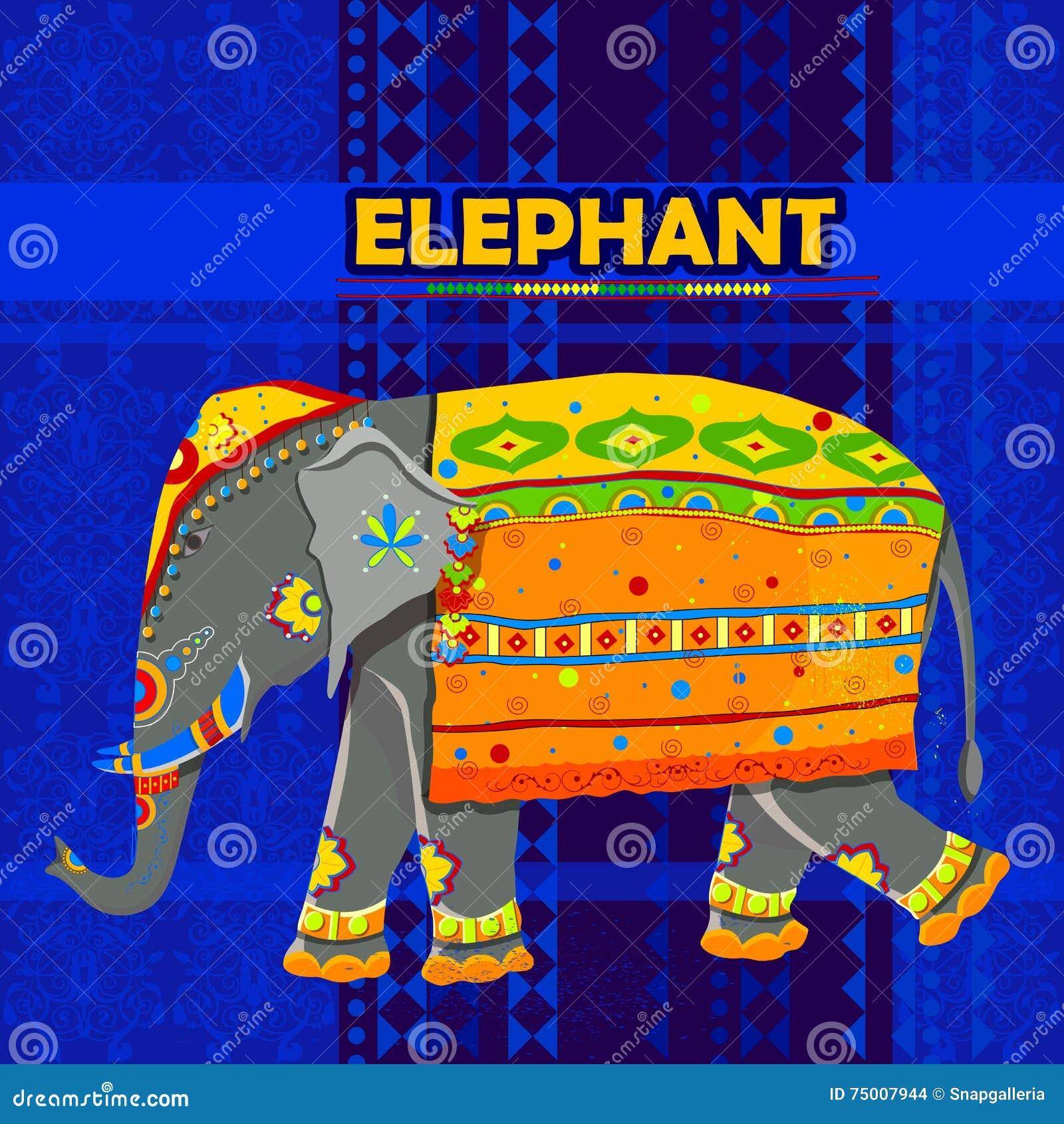 indischer elefant der buntes indien darstellt vektor