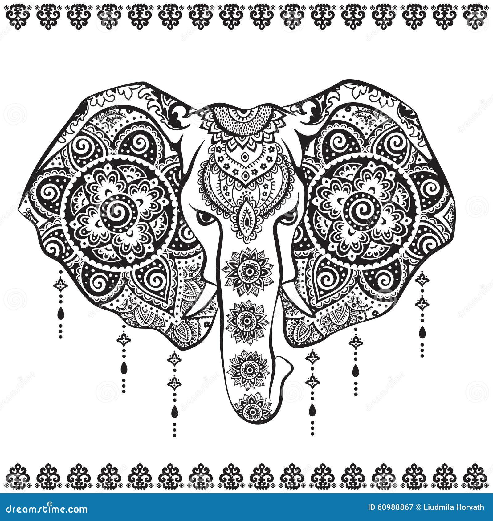 indischer elefant der weinlese mit stammes