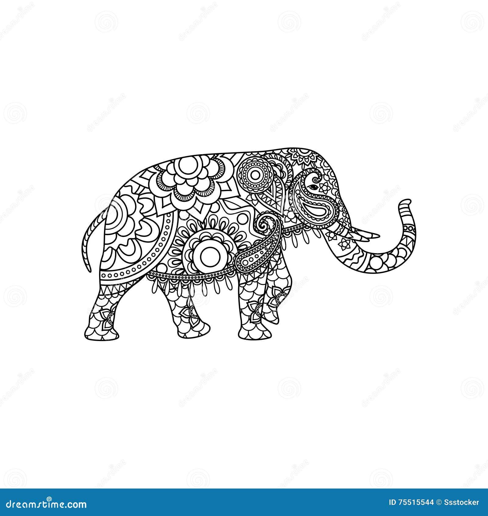 indischer elefant mit dekorativer stammes verzierung