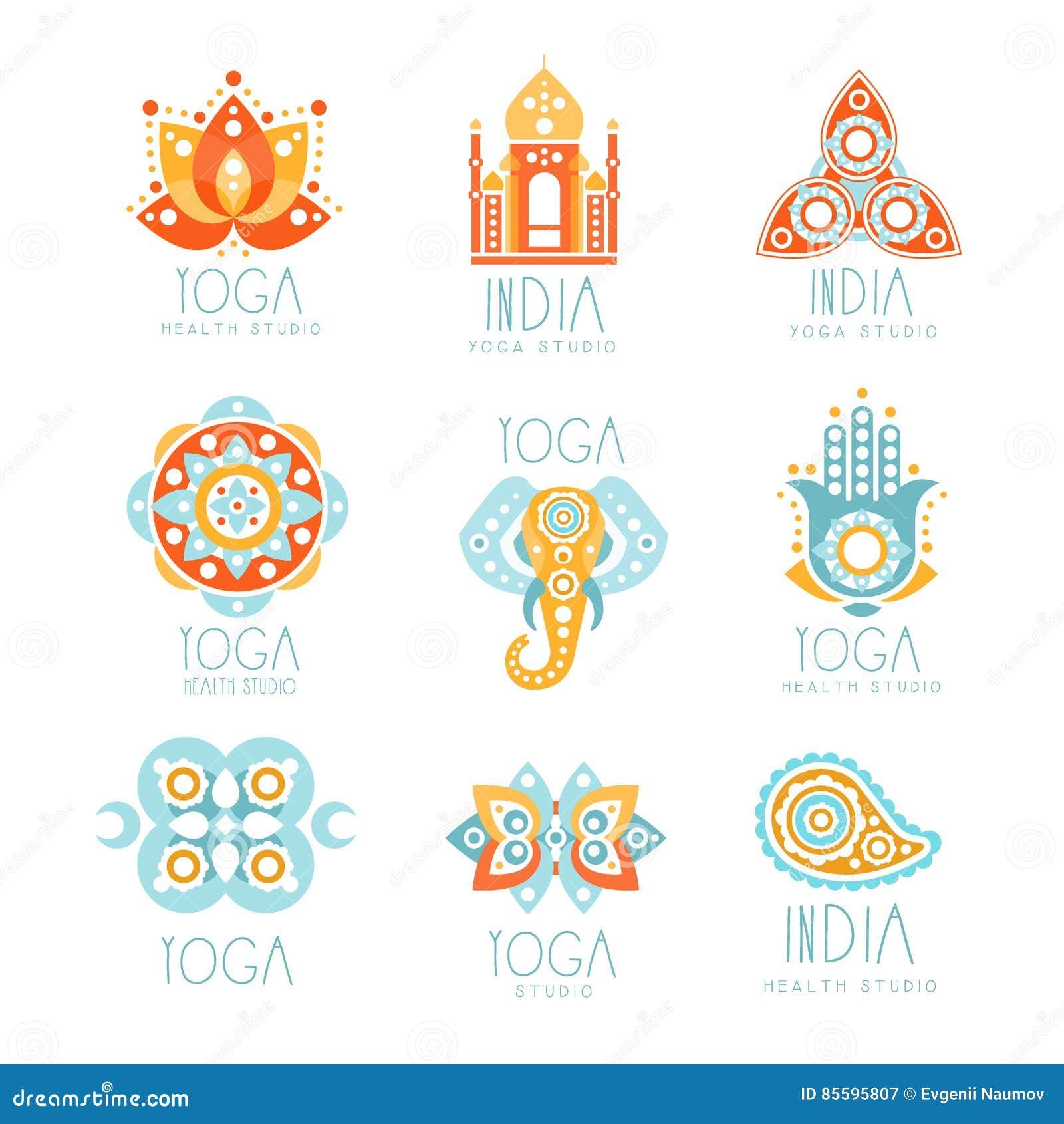 Indischer Yoga Studio Satz Bunte Promo Zeichen Design Schablonen Mit
