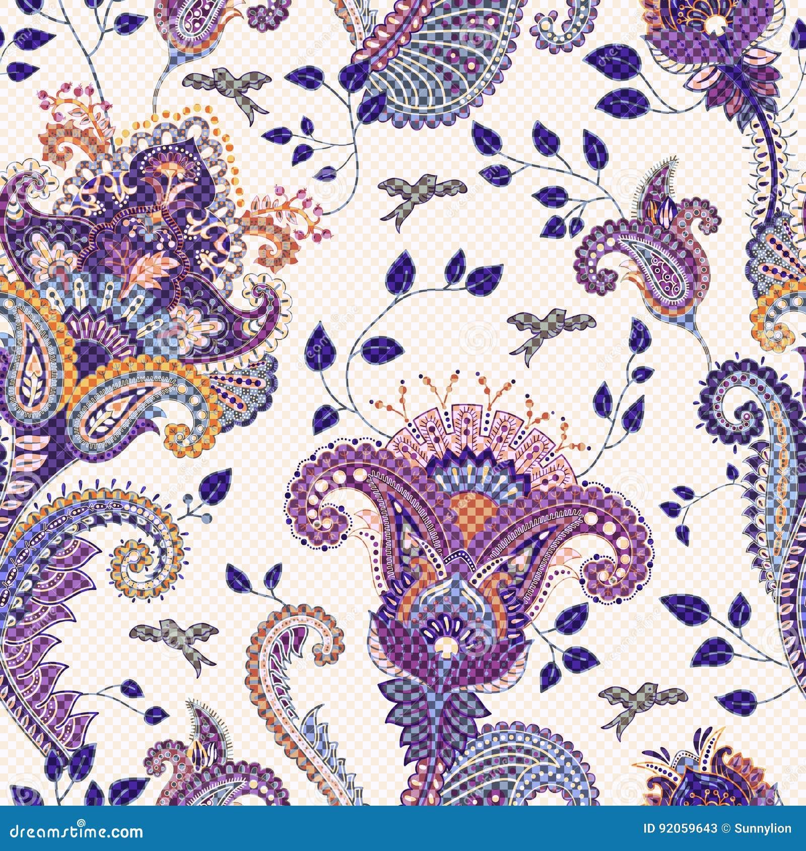indisches motiv ethnische dekorative tapete gro e dekorative blumen vector abbildung eps10. Black Bedroom Furniture Sets. Home Design Ideas