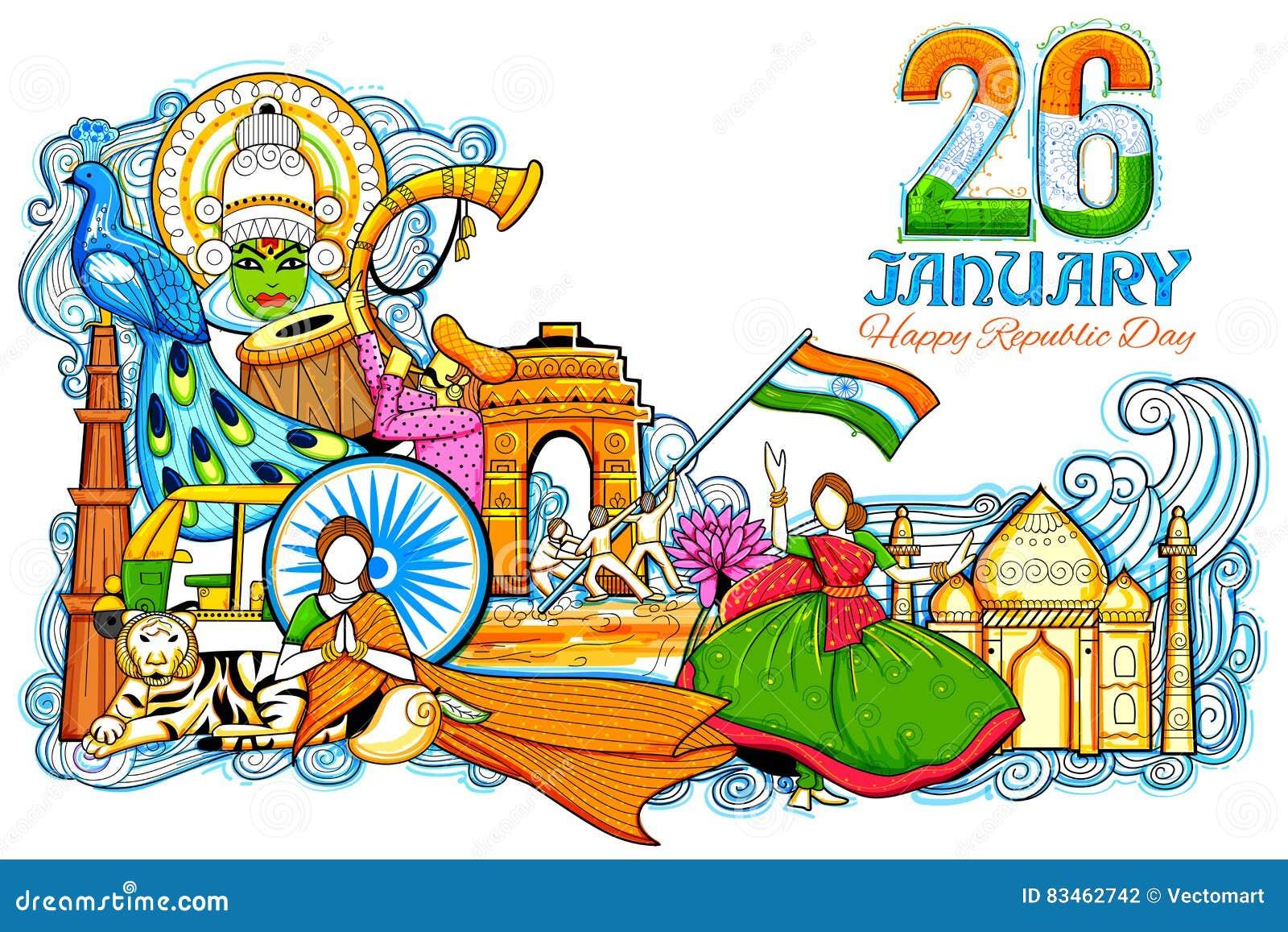 Indisk bakgrund som visar dess oerhörda kultur och mångfald med monumentet, festivalberöm för 26th Januari
