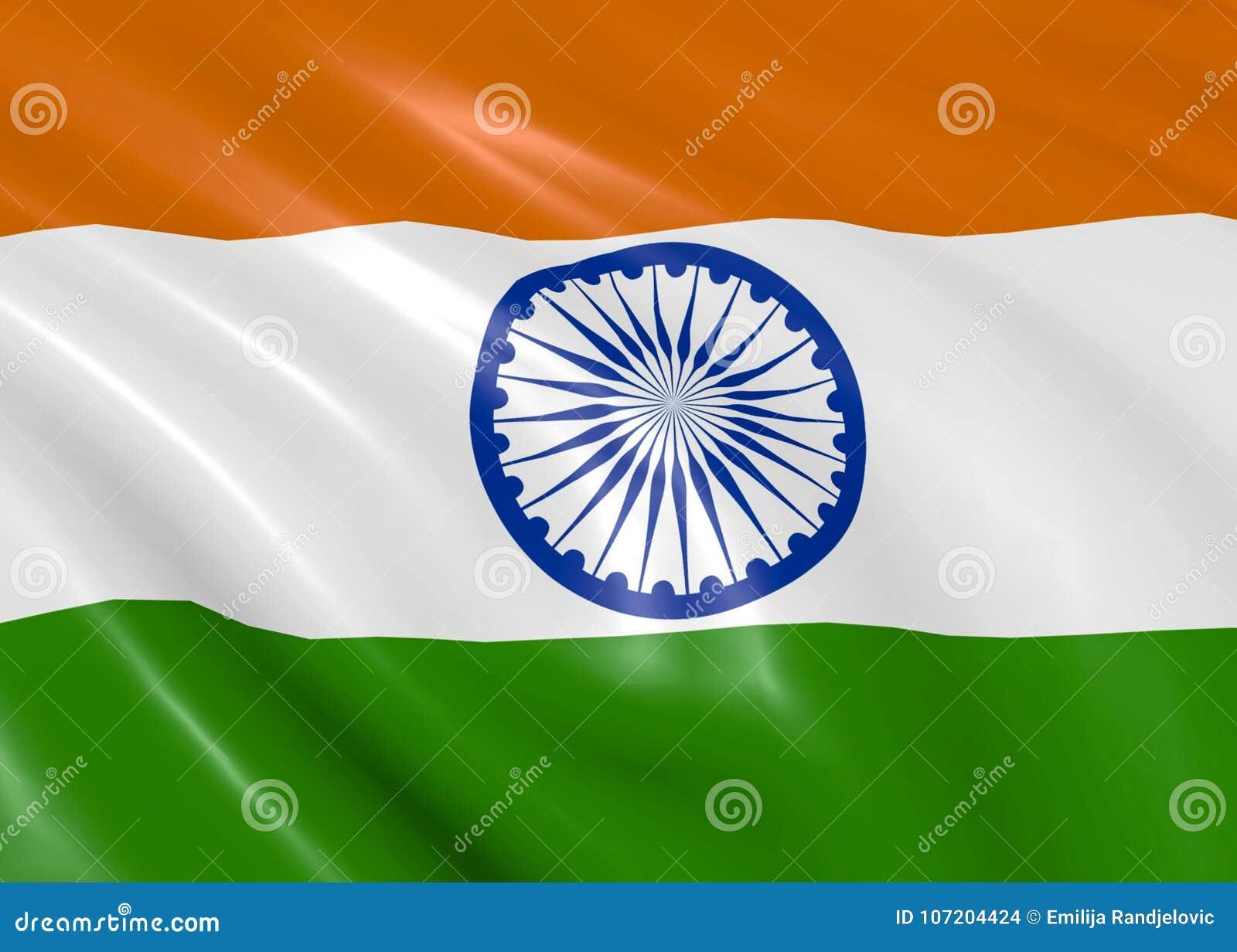 Indisk flagga som vinkar på vind