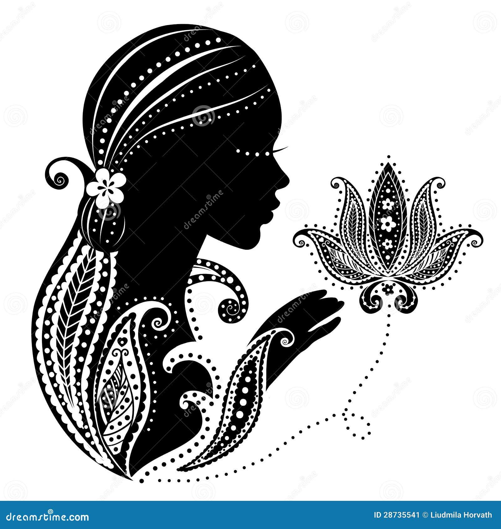 Indisk flicka med en blomma